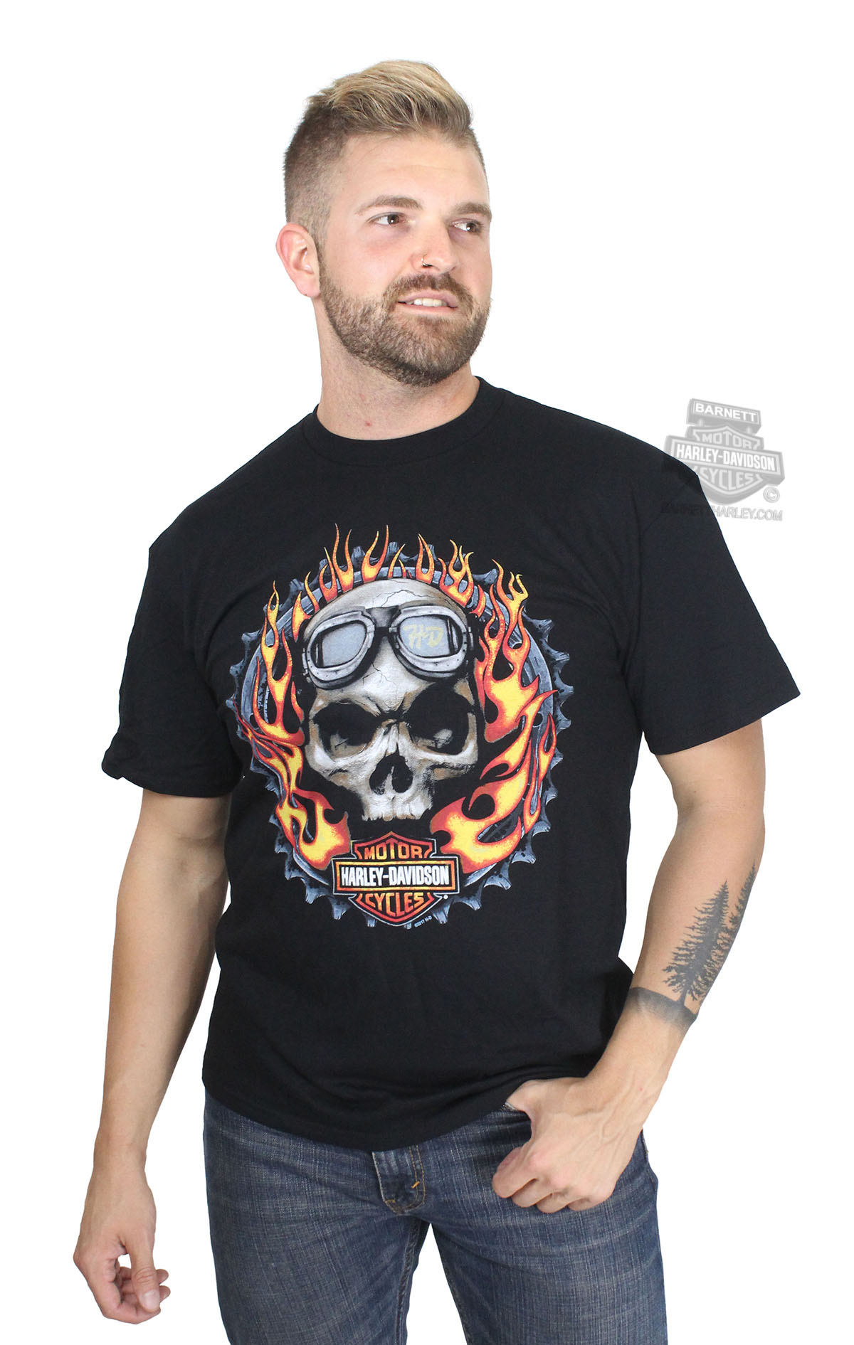 Harley Davidson 174 Mens Biker Fury Skull With Flames Black