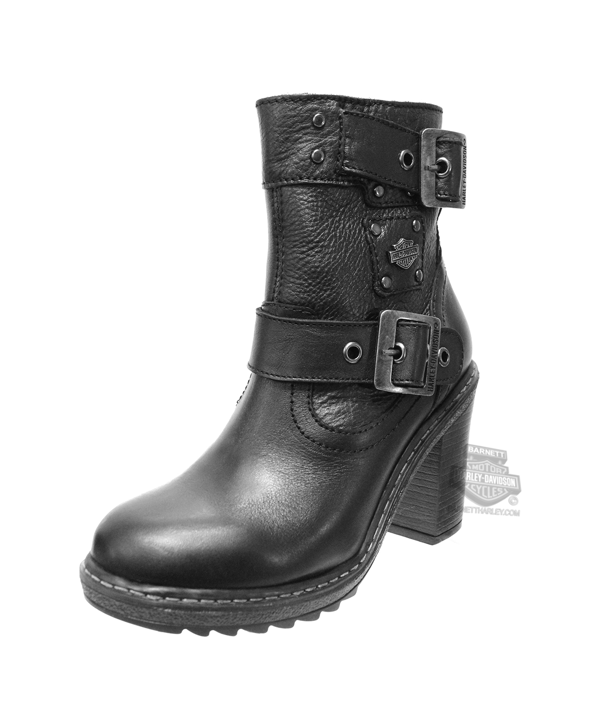 ... Harley-Davidson® Womens Ludwell Black Leather Mid Cut Boot. Hover to  zoom
