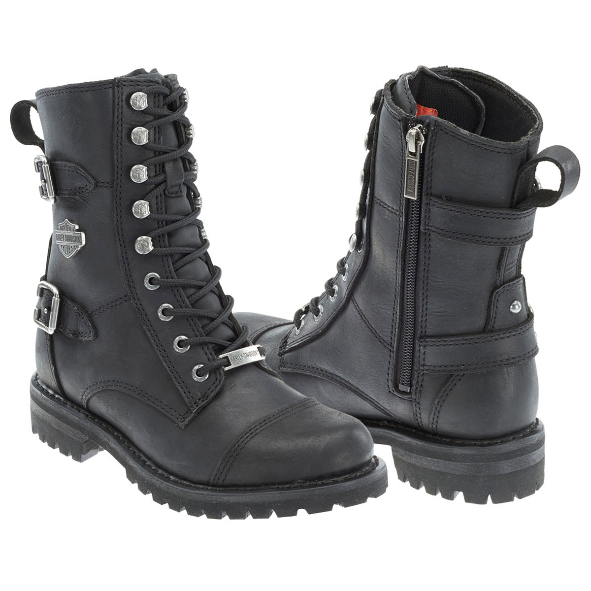 HarleyDavidson Womens Balsa Black Leather Mid Cut Boot Hover to zoom