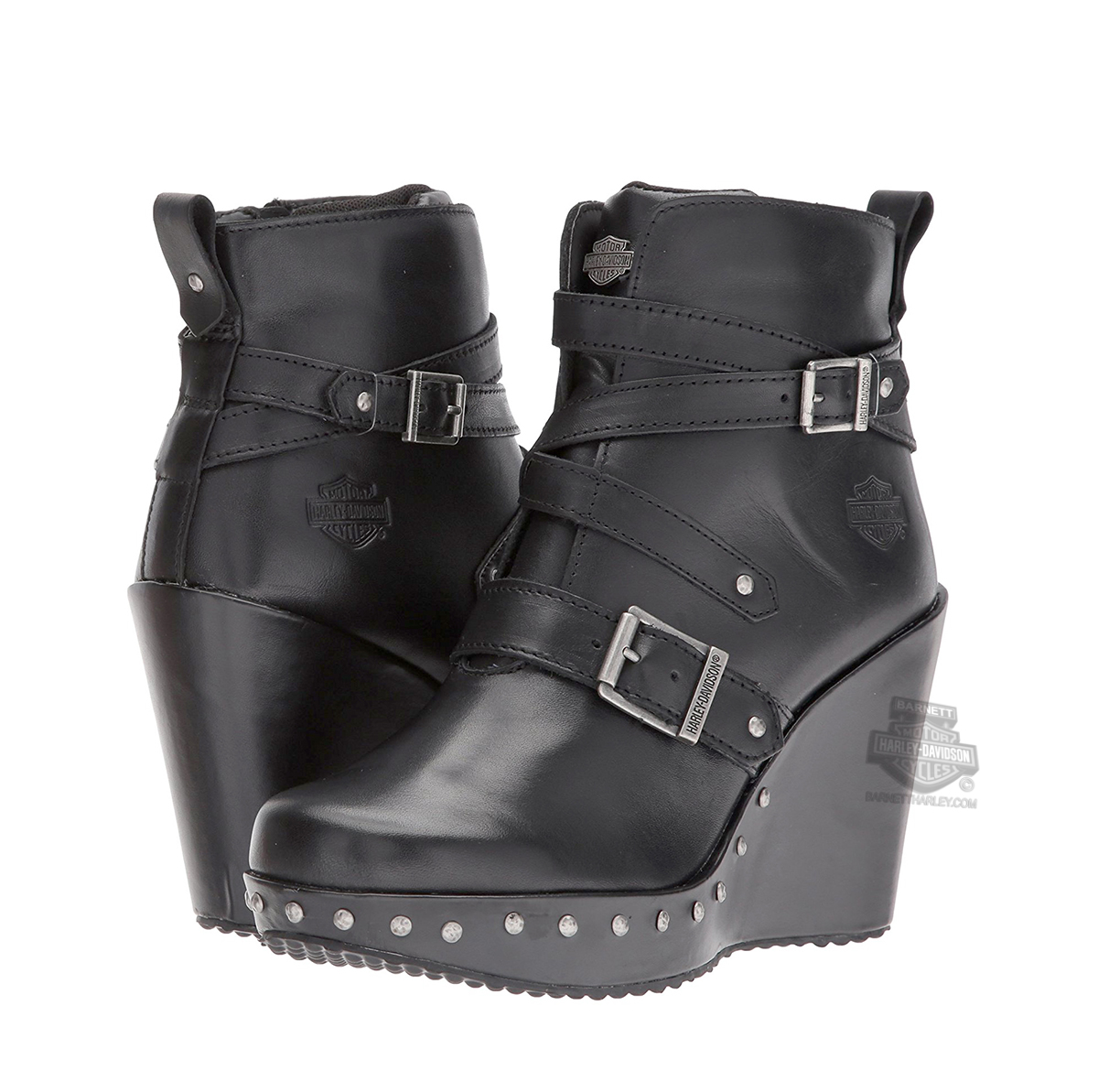 8ac84317b1a ... Harley-Davidson® Womens Linley Wedge Black Leather Low Cut Boot. Tap to  expand