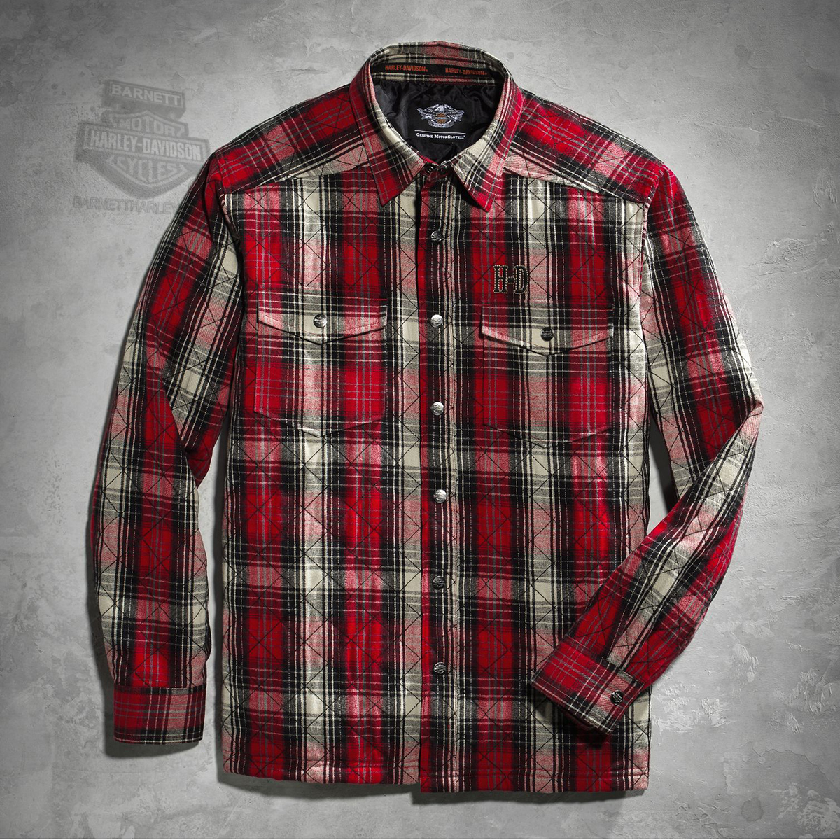 Harley-Davidson® Mens Quilted Washed Red Plaid Long Sleeve Shirt