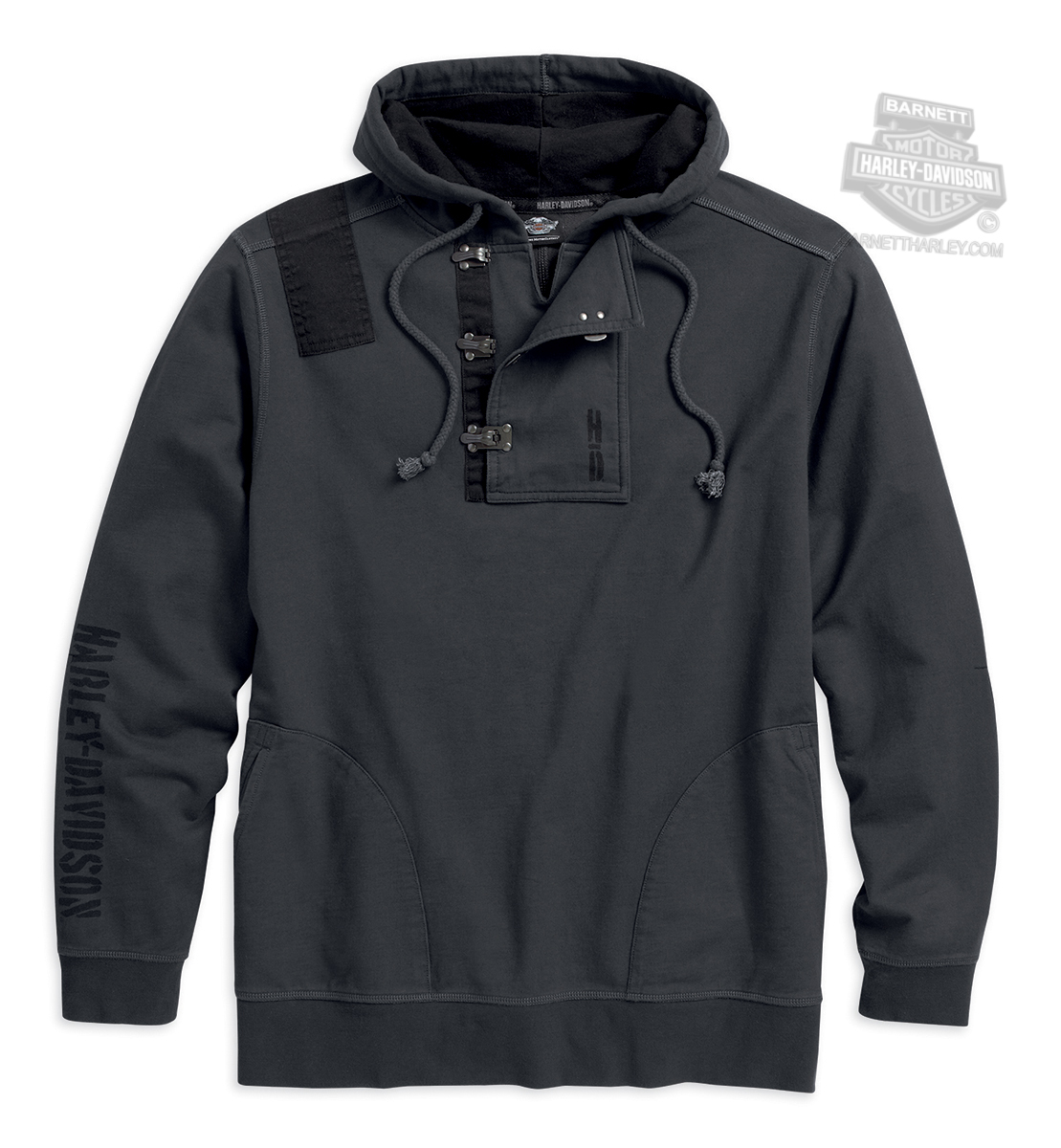 harley davidson mens metal clasp accent pullover charcoal. Black Bedroom Furniture Sets. Home Design Ideas
