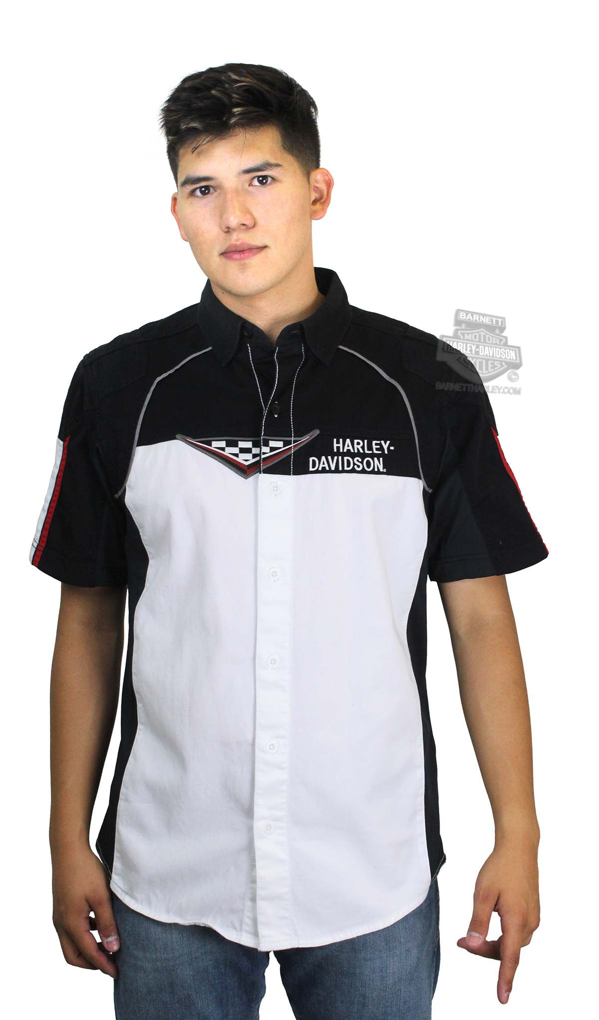 Harley Davidson 174 Mens Performance Vented Race Flag White