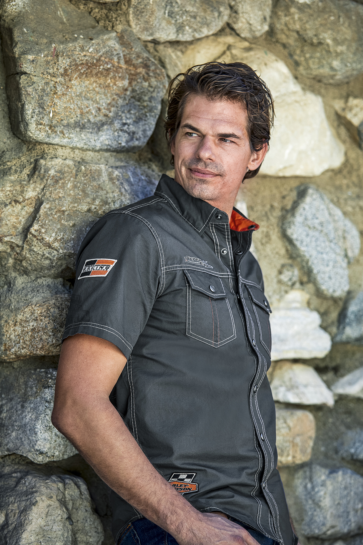 Harley-Davidson® Mens Screamin Eagle Embroidered Patches Charcoal Short Sleeve Woven Shirt *24x3*