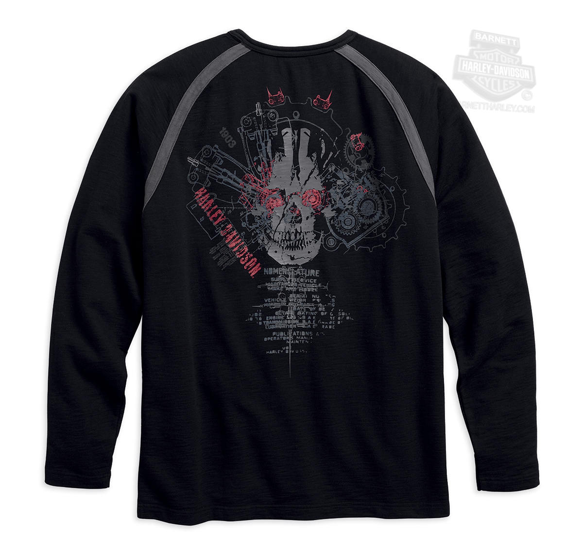 harley davidson mens bio mechanical skull crewneck. Black Bedroom Furniture Sets. Home Design Ideas