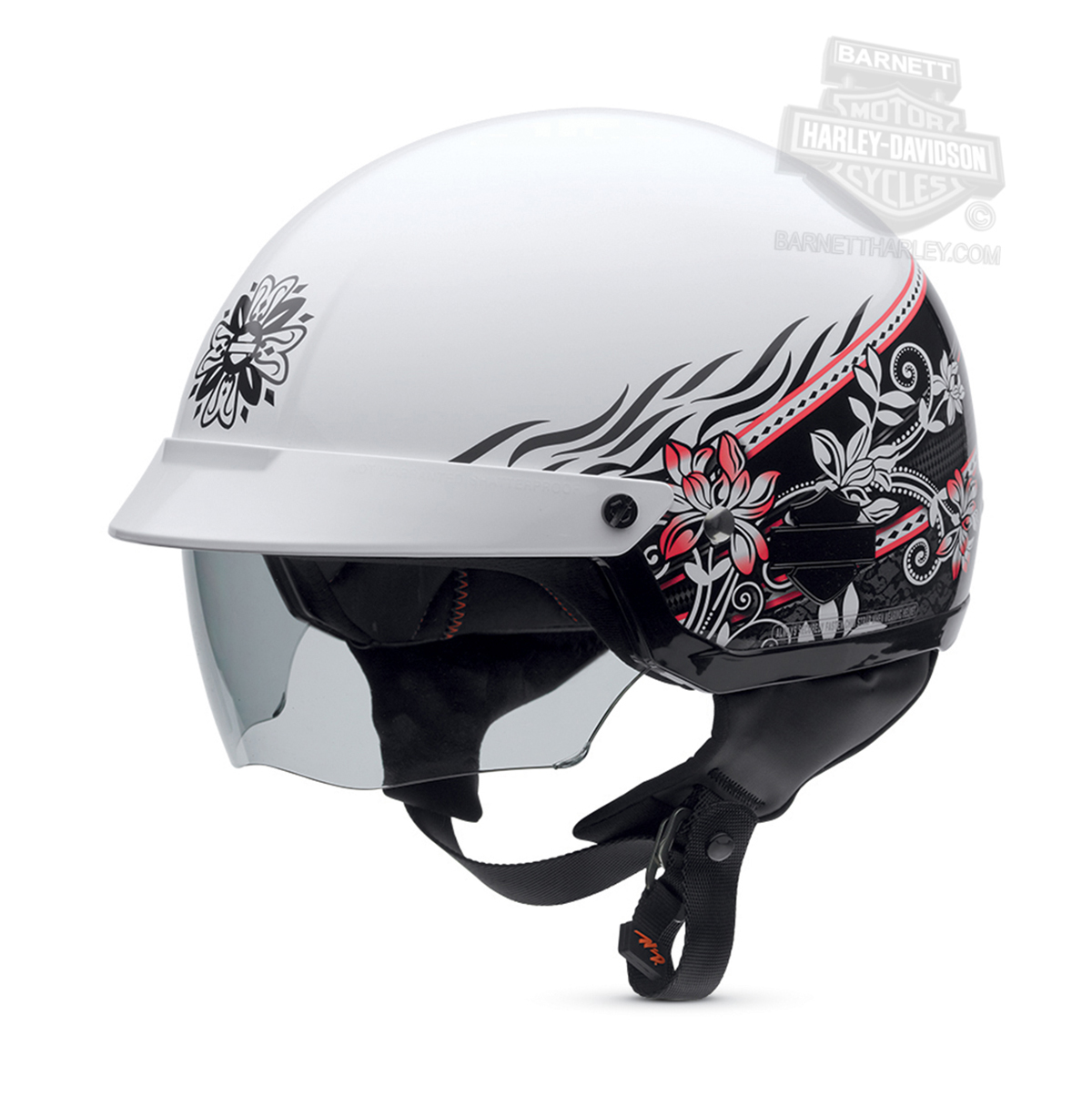VW HarleyDavidson Womens Cascade Flower Graphics With - Helmet decals motorcycle womens