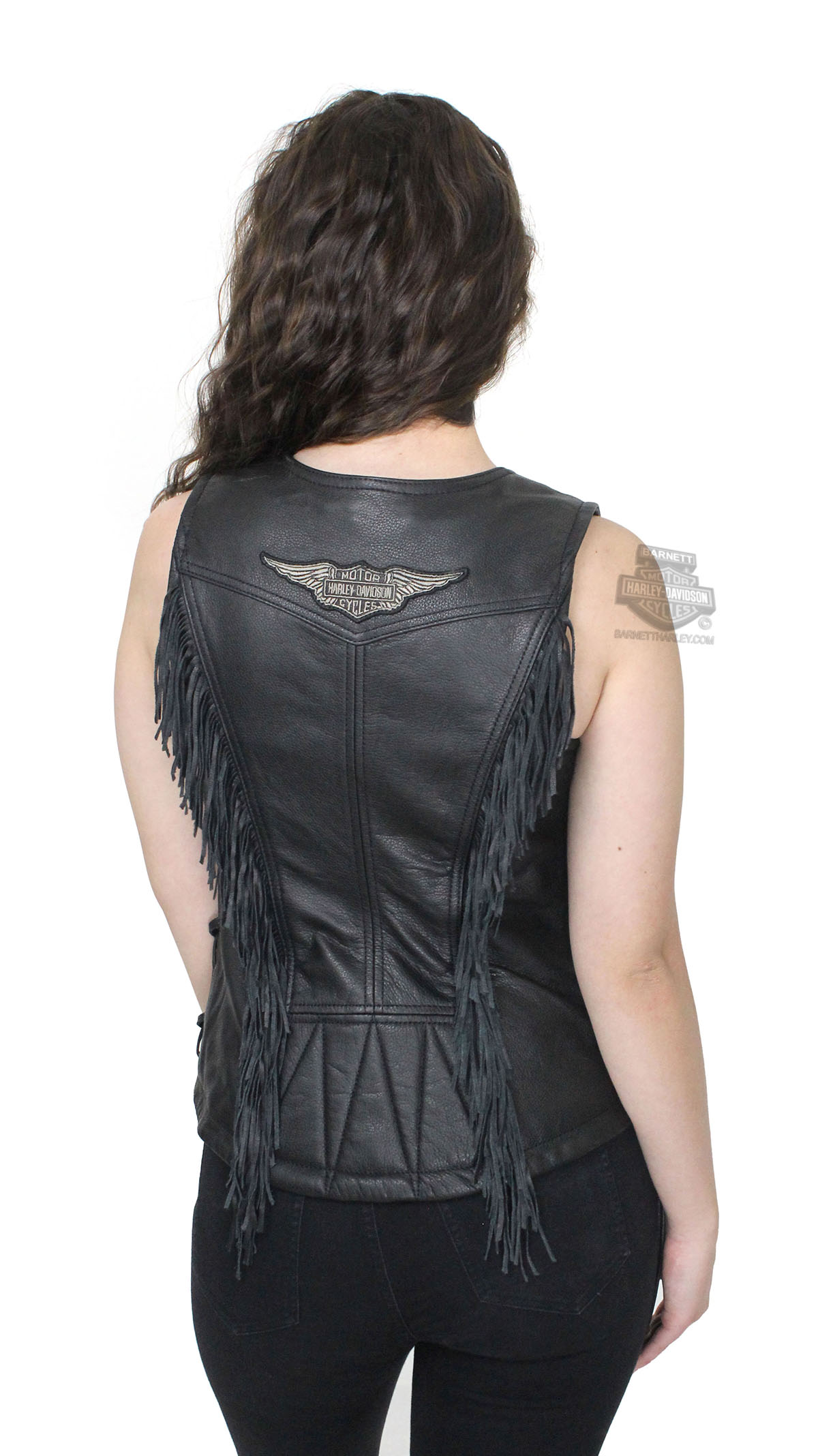 Harley Davidson Womens Boone Fringed Winged B S Patch Black Vest