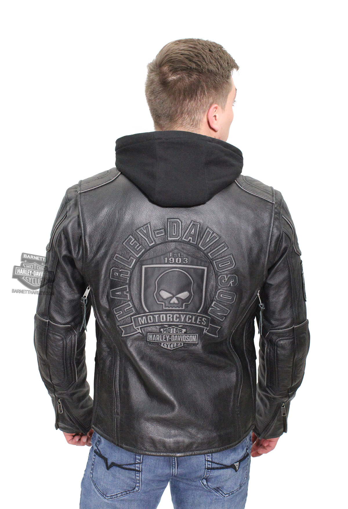 5X-Large Mens for Black Hoodie with Skull Biker Leather Jacket