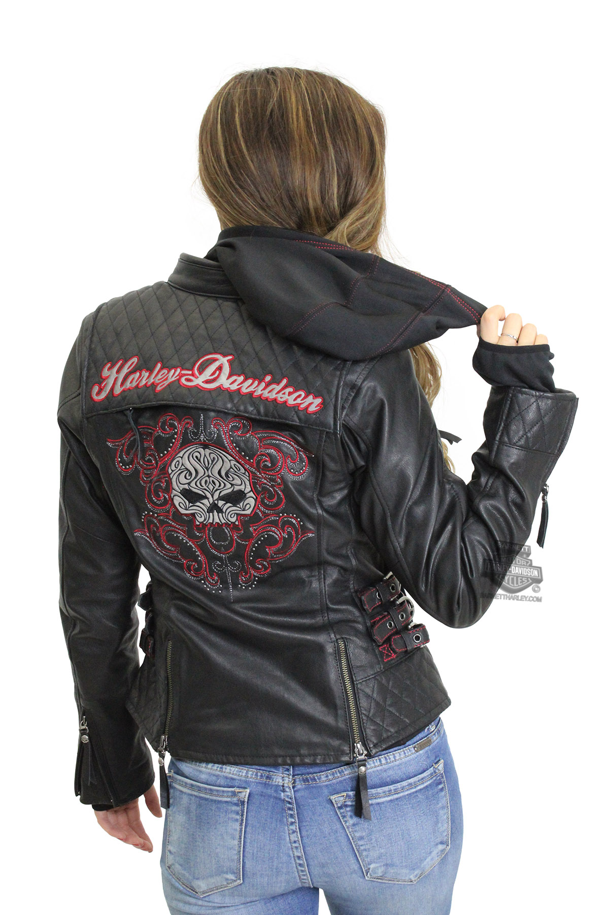 622433beb730 Harley-Davidson® Womens Scroll Willie G Skull Reflective with Studs 3-In-1 Black  Leather Jacket