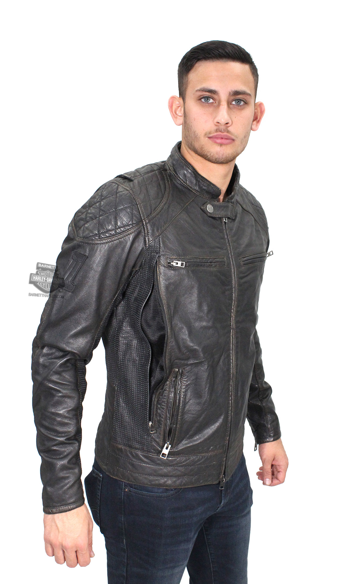 Distressed black leather jacket mens