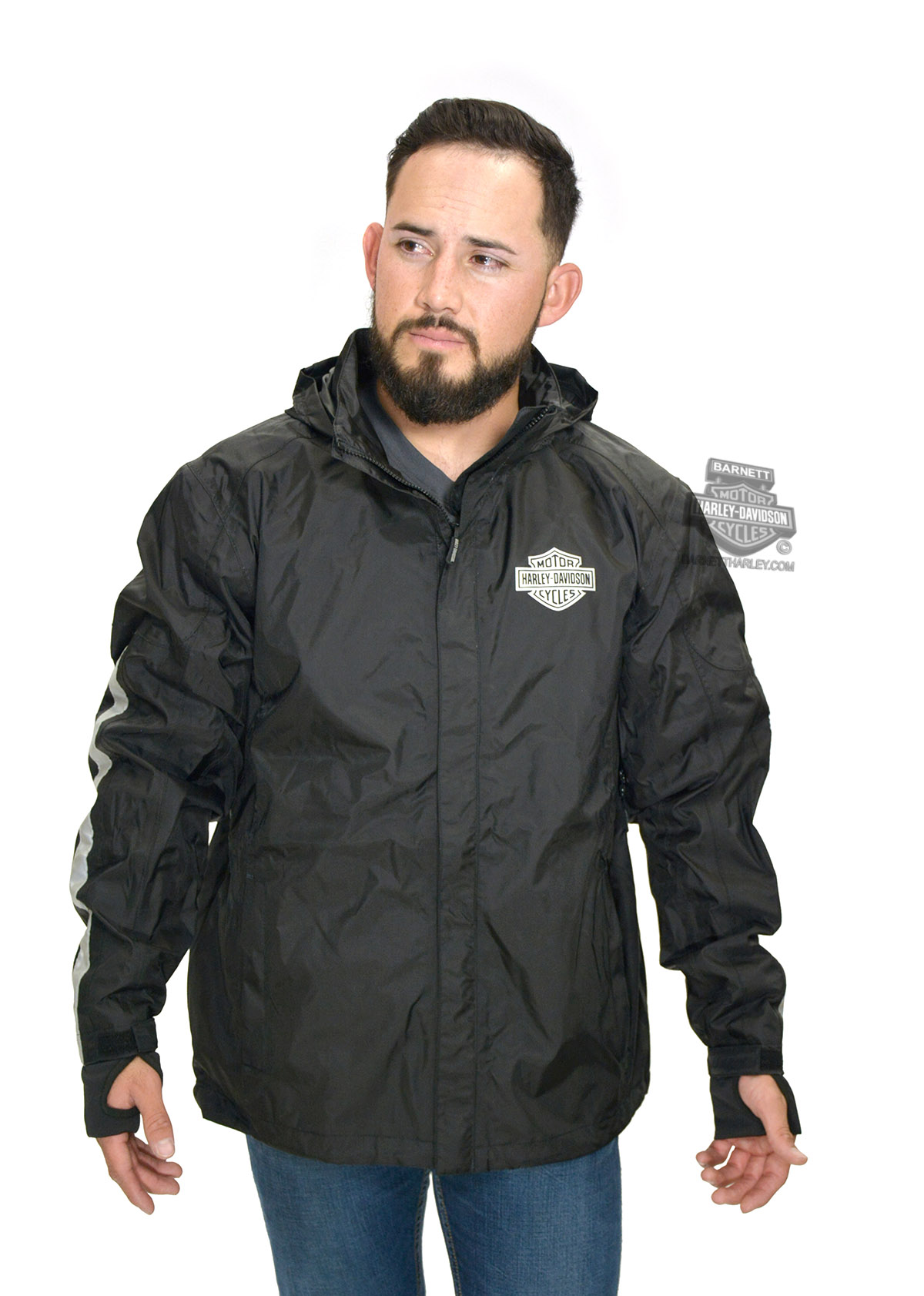 Harley-Davidson® Mens B&S Logo Waterproof Reflective Black Rain Jacket