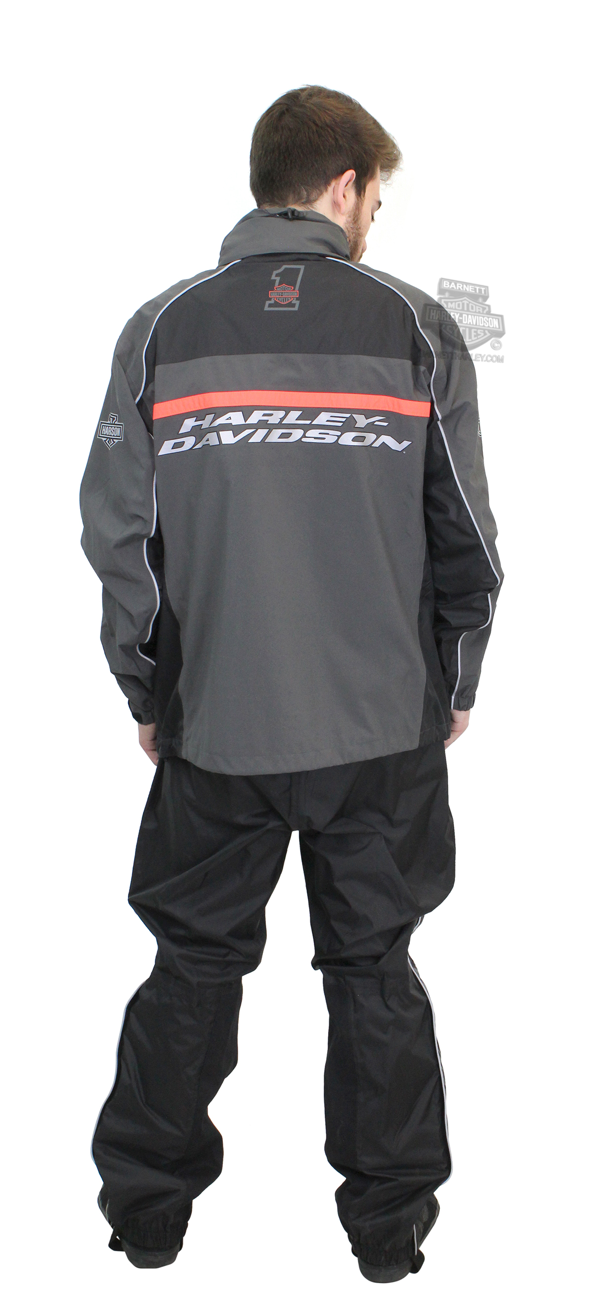 Harley-Davidson® Mens Brother's Ride B&S #1 Logo Reflective Waterproof Charcoal Rain Suit