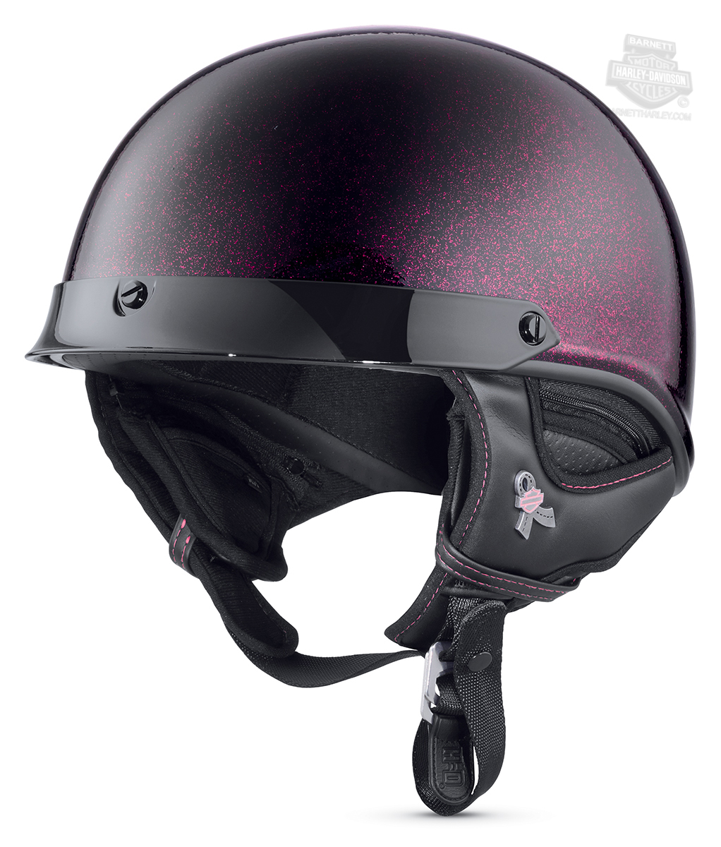 Harley-Davidson® Womens Pink Label J02 Pink Metallic Glitter Flake Ultra-Light Gloss Black Half Helmet