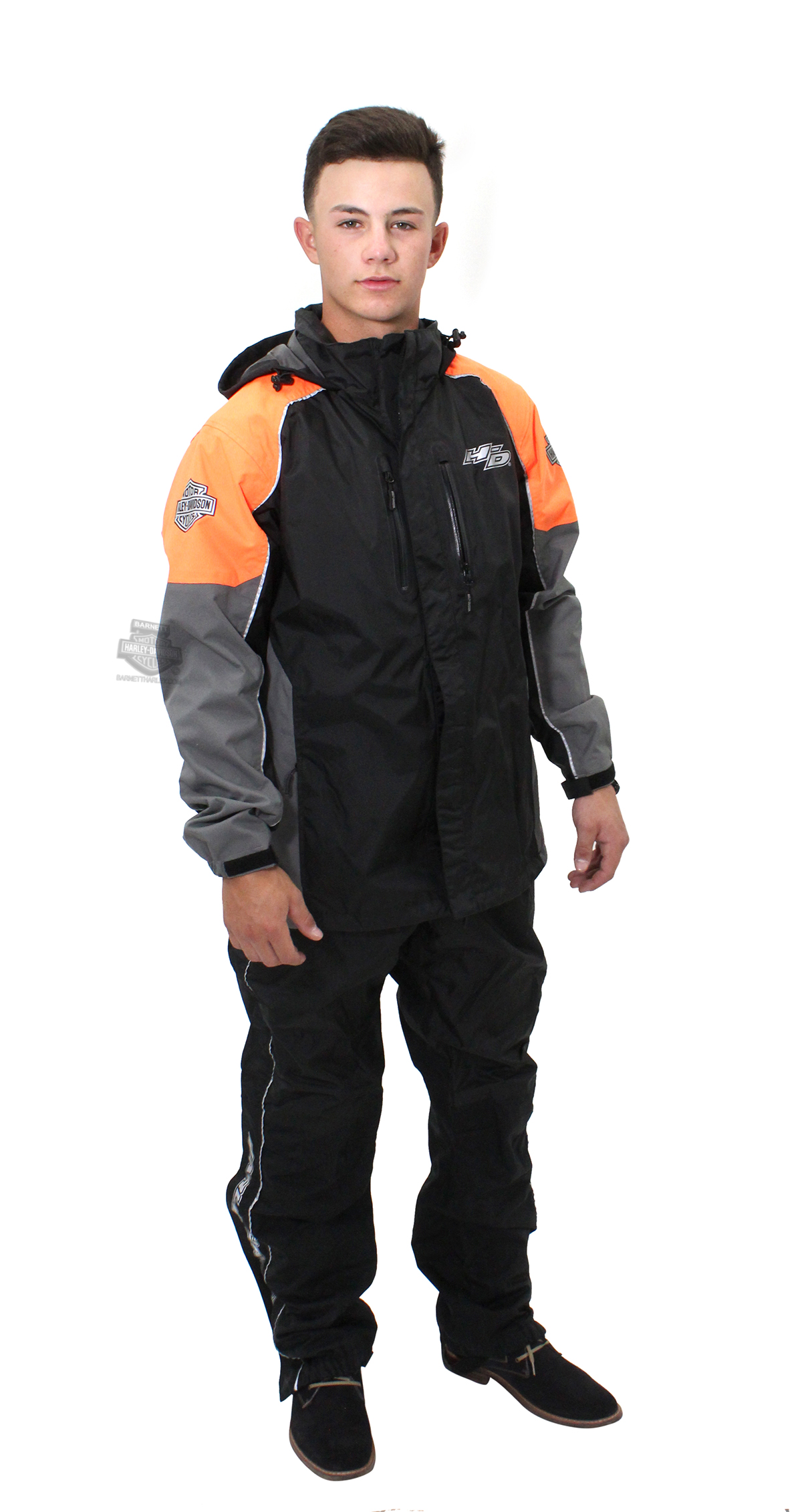 Harley-Davidson® Mens Rutledge B&S Hi-Vis Reflective Black Rain Suit