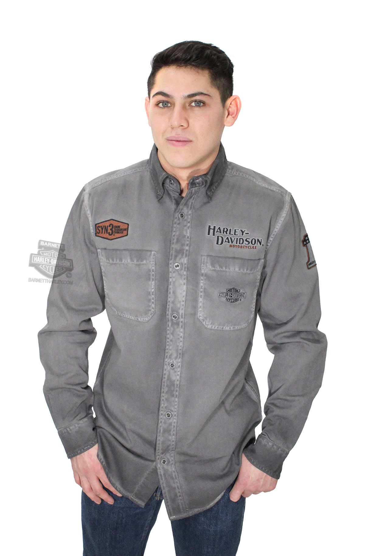 S04 Harley-Davidson Men/'s Black Grey Two-Tone Copper Block L//S Woven Shirt