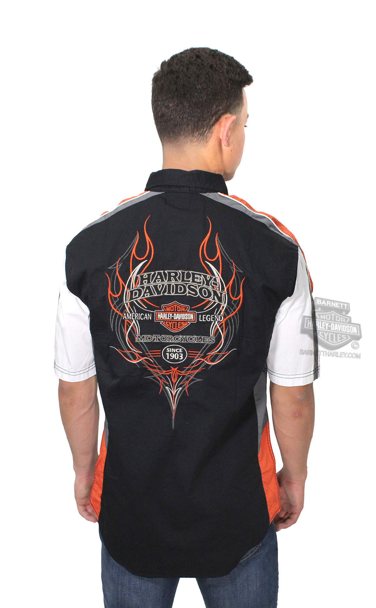 Harley Davidson 174 Mens Performance Vented Pinstripe Flames