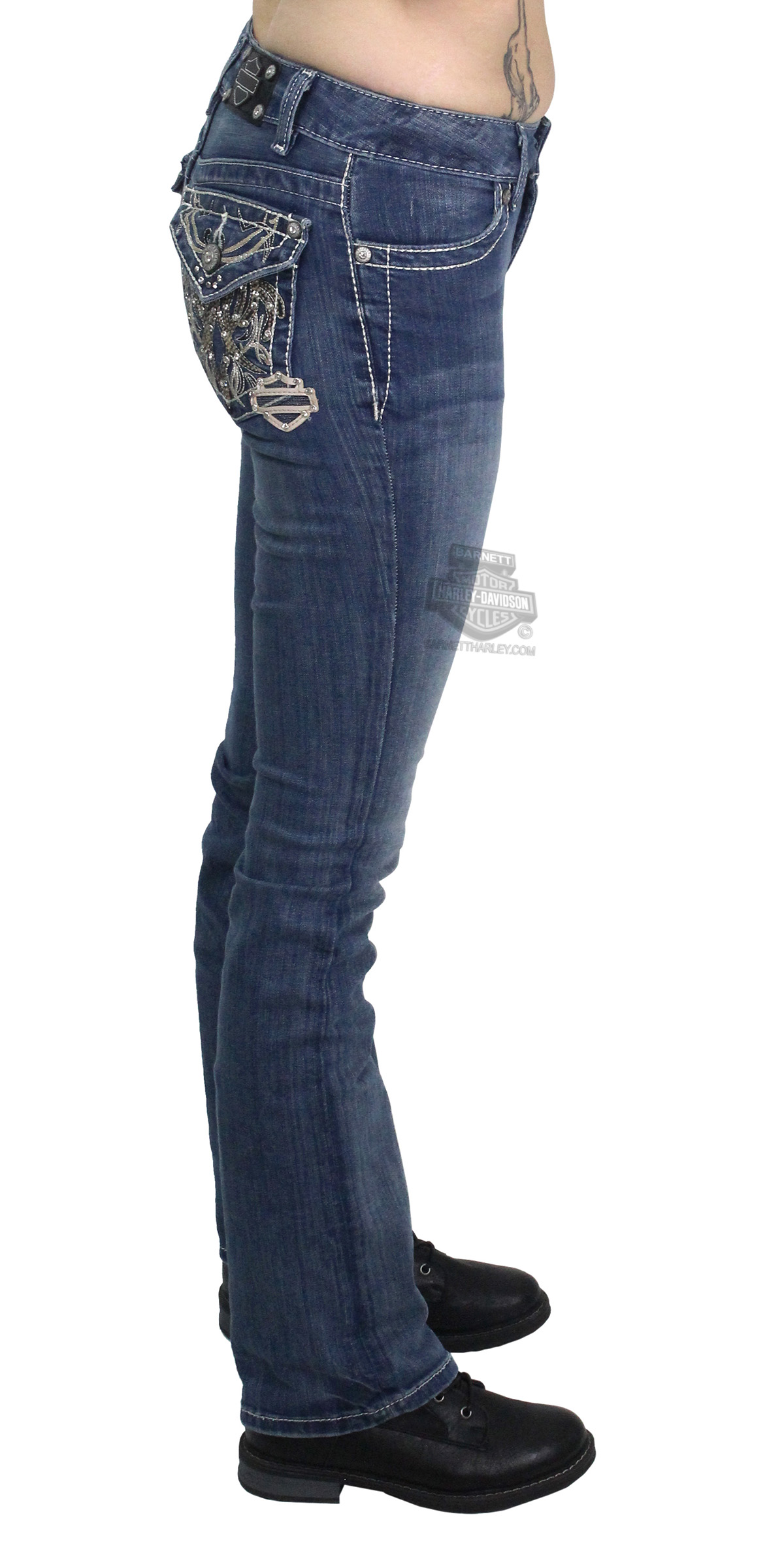 Harley Davidson 174 Womens Curvy Boot Cut Embellished Flap