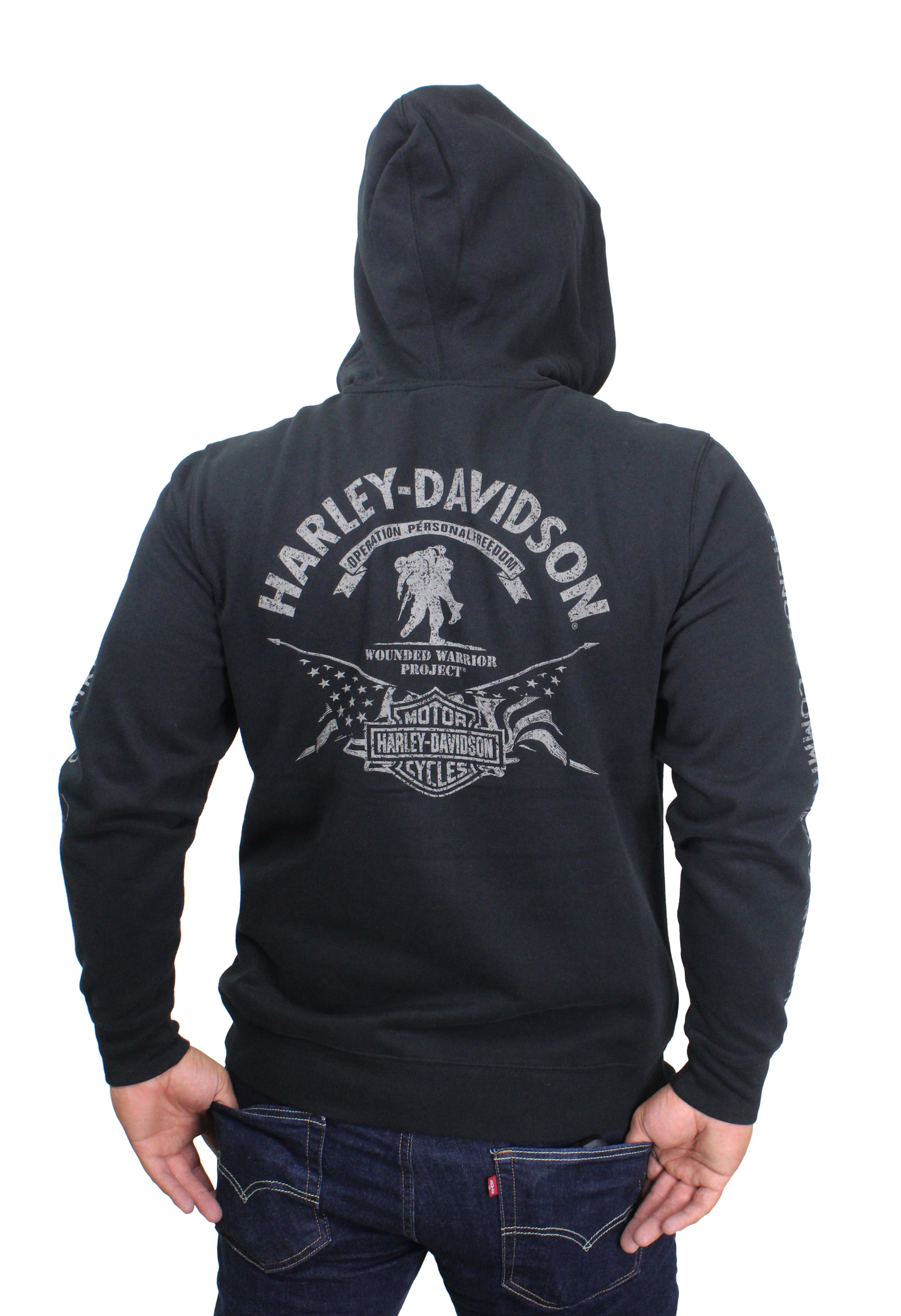 74ab01476e46f Harley-Davidson® Mens Wounded Warrior Project® Stars   Stripes Full Zip  Black Long Sleeve Hoodie