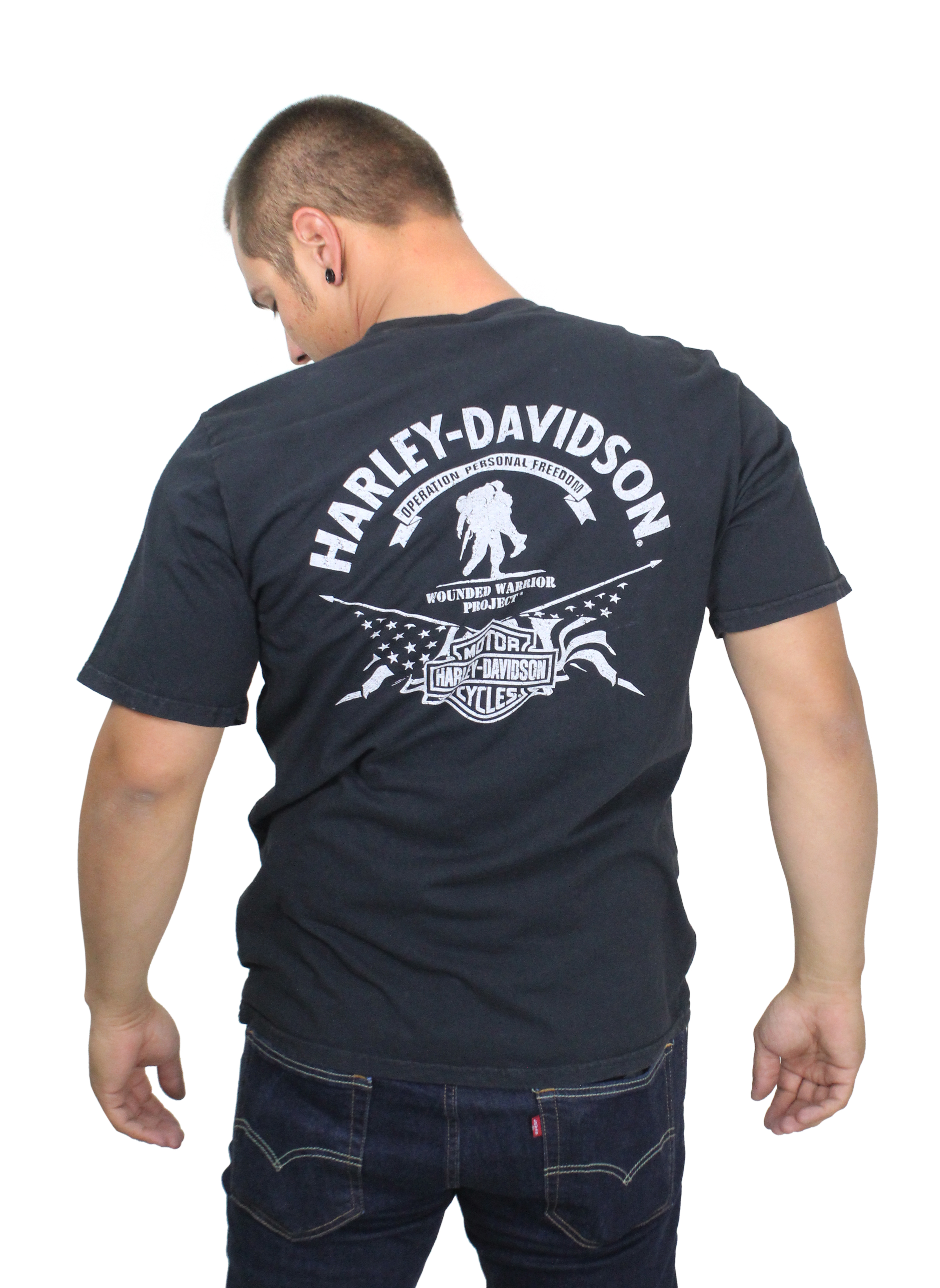 8e9b9459b87 Harley-Davidson® Mens Wounded Warrior Project® Stars   Stripes Black Short  Sleeve T-Shirt