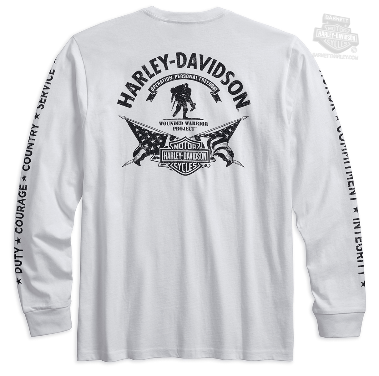 e653652528f2f Harley-Davidson® Mens Wounded Warrior Project® Stars   Stripes White Long  Sleeve T-Shirt