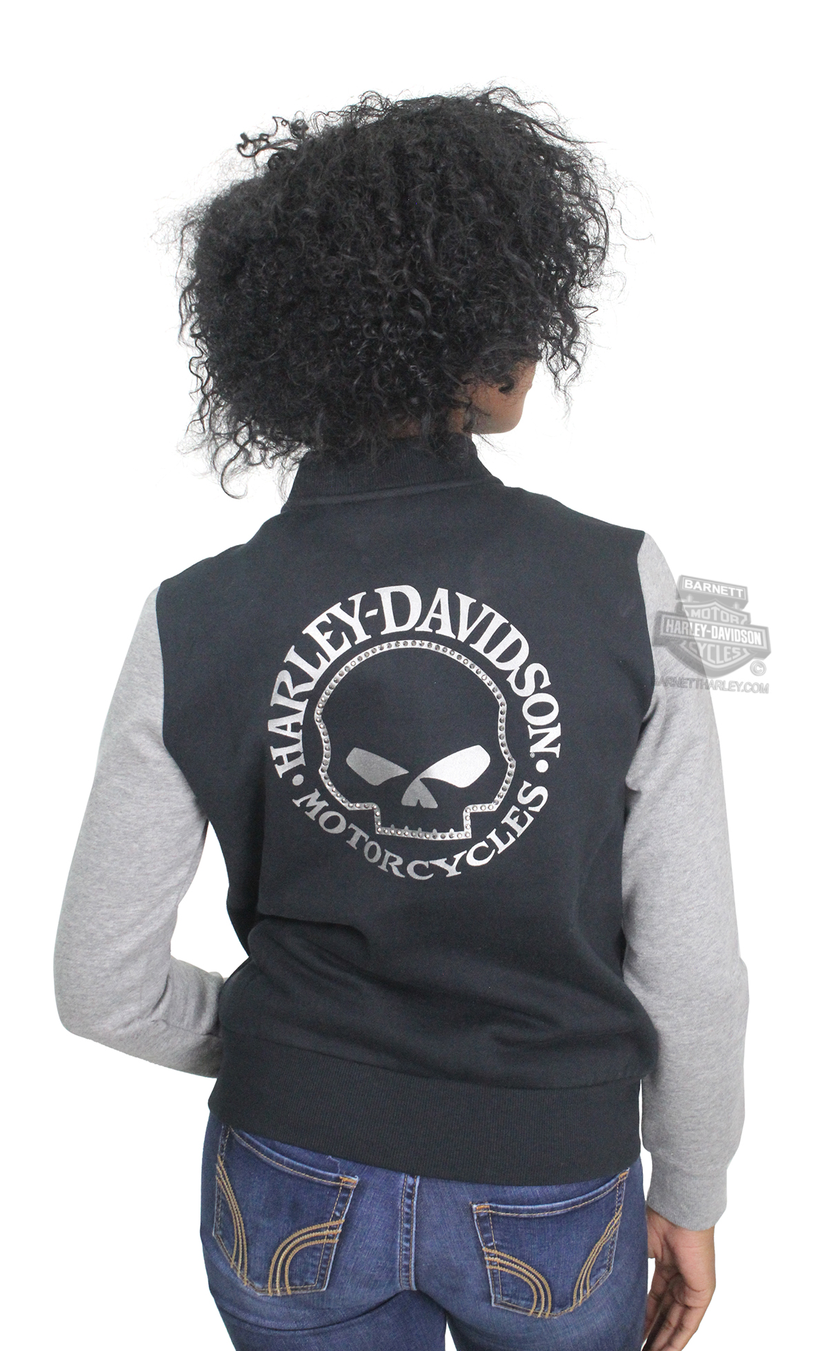 Harley-Davidson® Womens Willie G Skull Activewear Bomber Black Casual Jacket