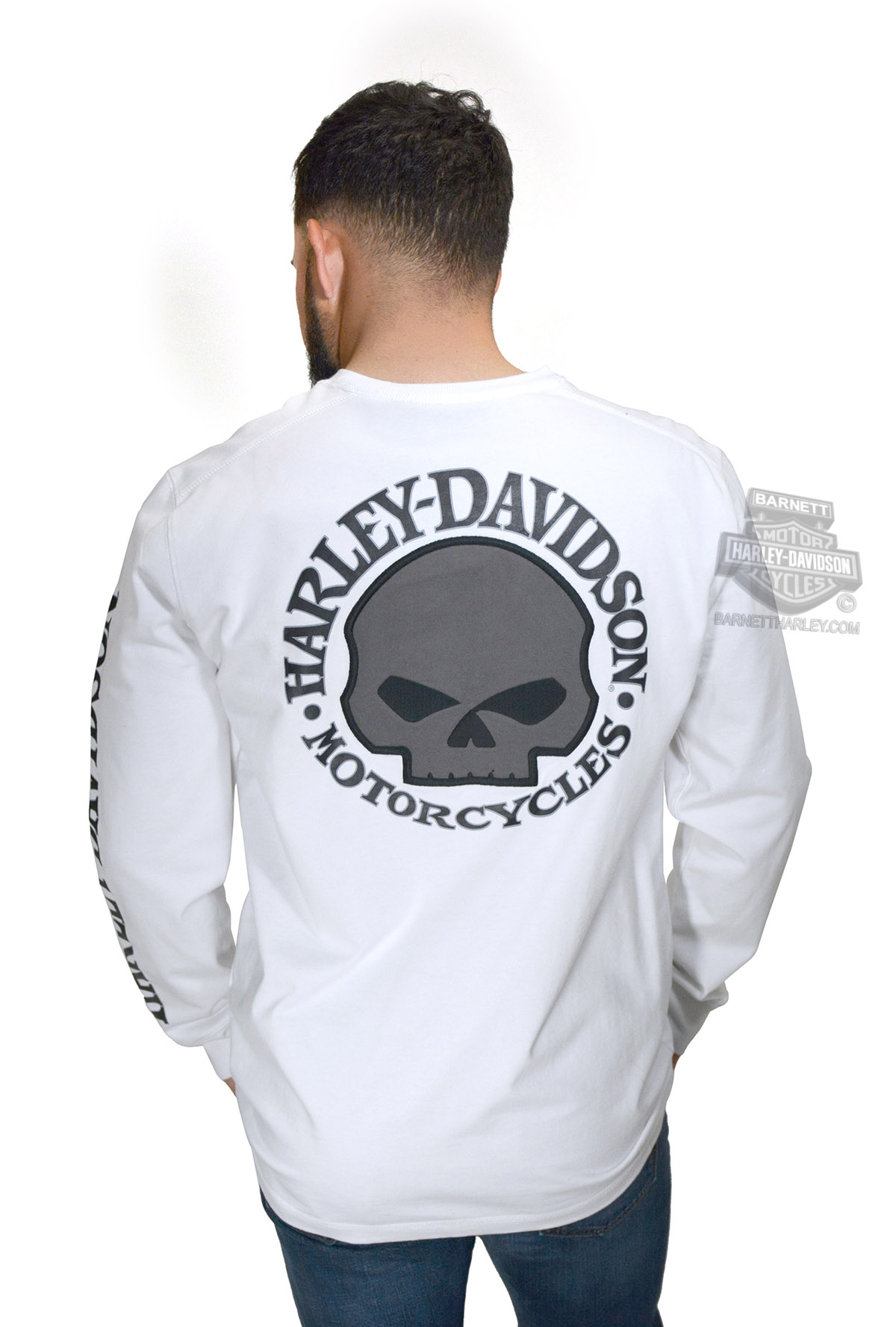 dfa854d67ea Harley-Davidson® Mens Willie G Skull with Printed Sleeve Graphics White  Long Sleeve T-Shirt