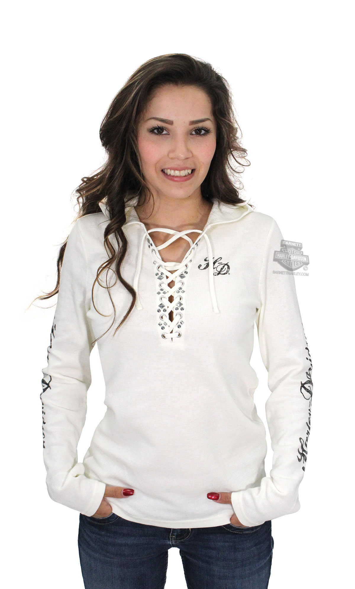 96f9a192 Harley-Davidson® Womens Scroll Willie G Skull Embellished Hooded Off White  Long Sleeve Henley