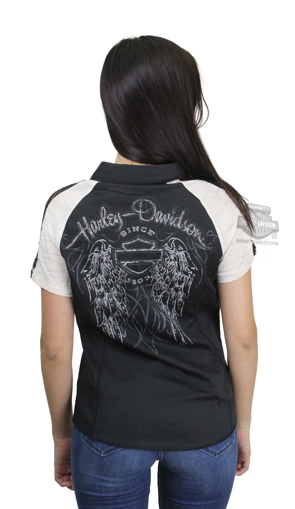 c8714d0a Harley-Davidson® Womens Lace Accent Downswept Wing Zip Front Black Short  Sleeve Woven Shirt *NJ19*