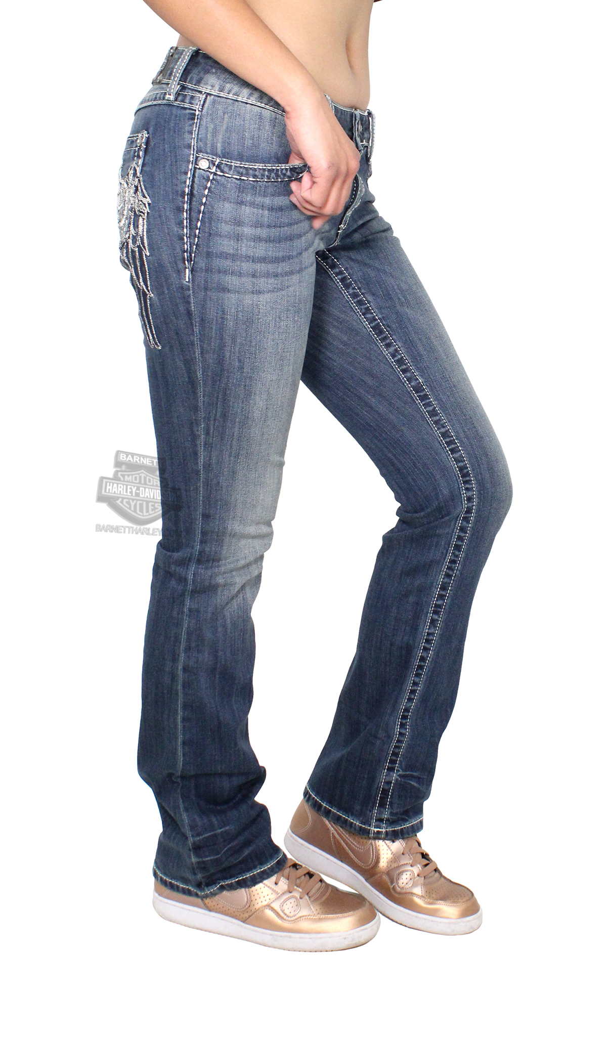 harley davidson womens curvy boot cut embellished wing mid rise blue jeans