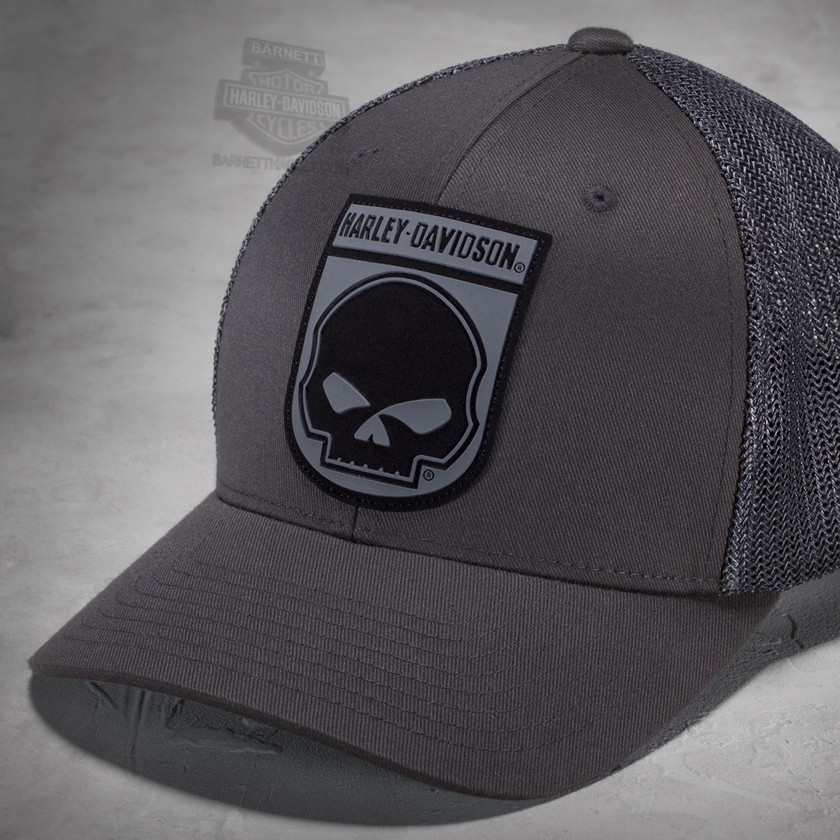 d9aed7d5f8ae4 ... Harley-Davidson® Mens Rubber Willie G Skull Mesh Back Flexfit® Black  Poly Blend Stretch Fit Baseball Cap. Tap to expand