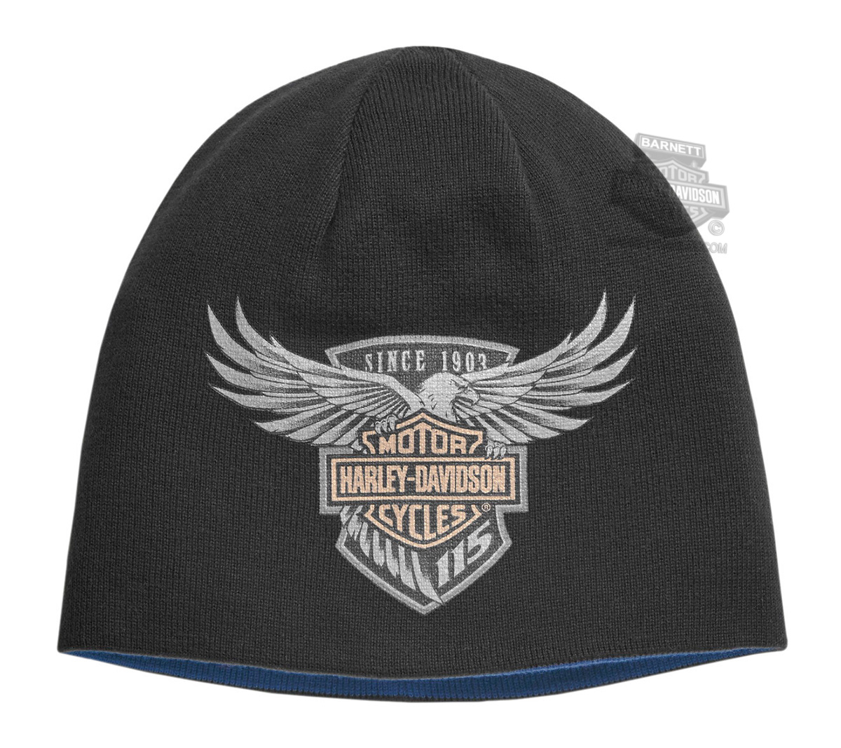 f8d86987f ... Beanies   Harley-Davidson® Mens 115th Anniversary Eagle Reversible  Black Acrylic Blend Knit Cap. Tap to expand