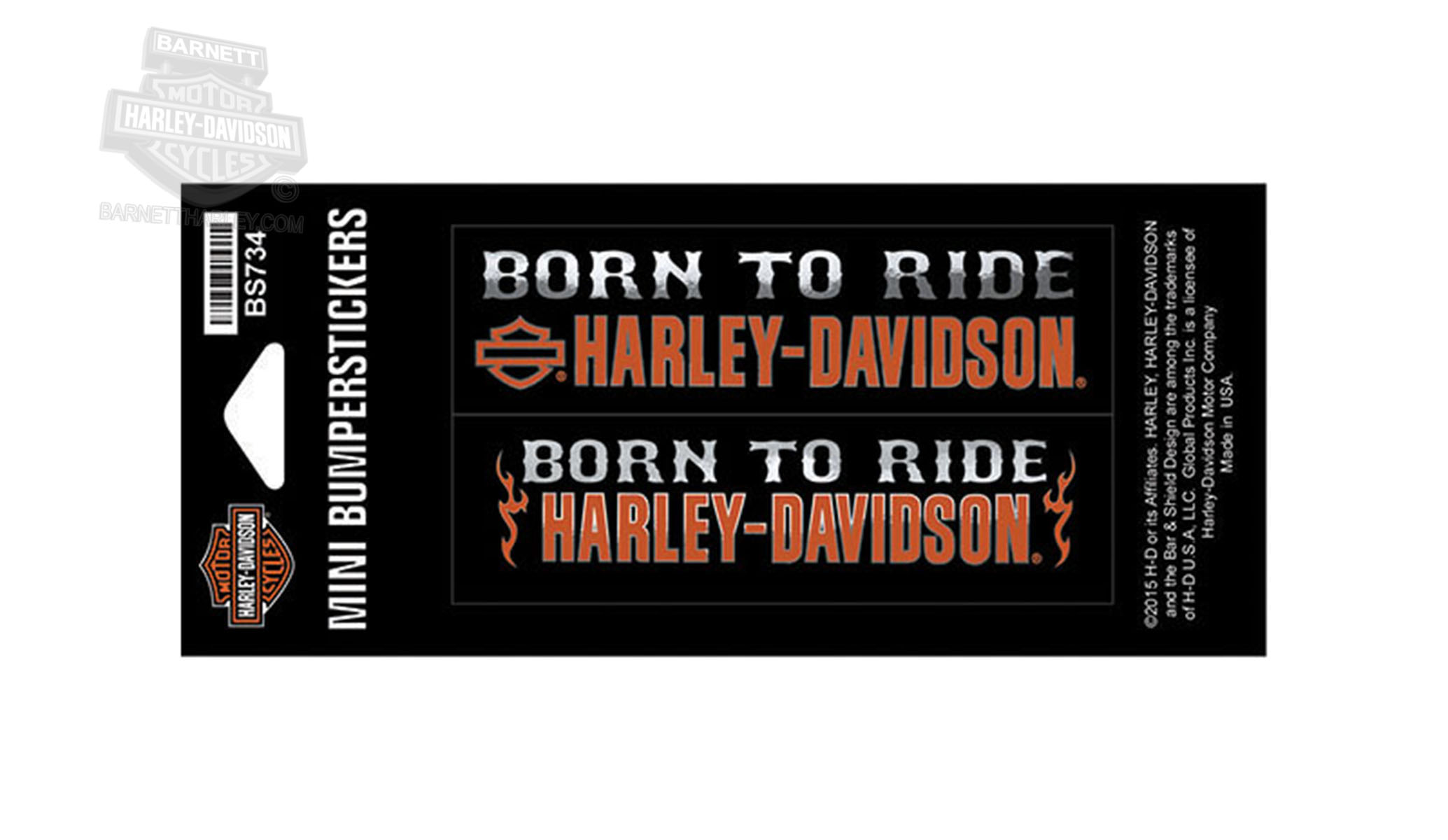 ** 5 for $5 ** Harley-Davidson® Born To Ride Small Bumpersticker
