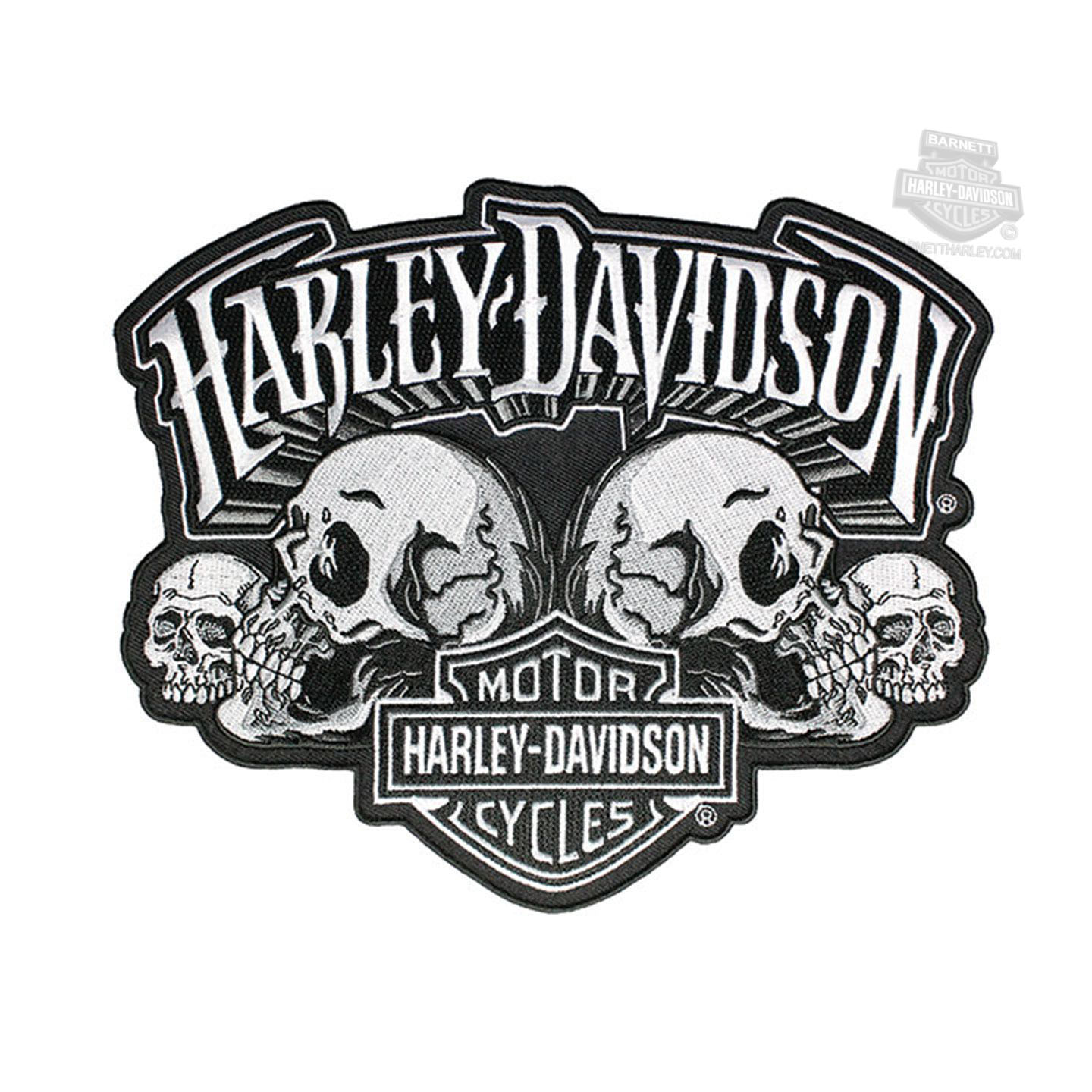 Harley-Davidson® Mens Skull Text with B&S Large Patch