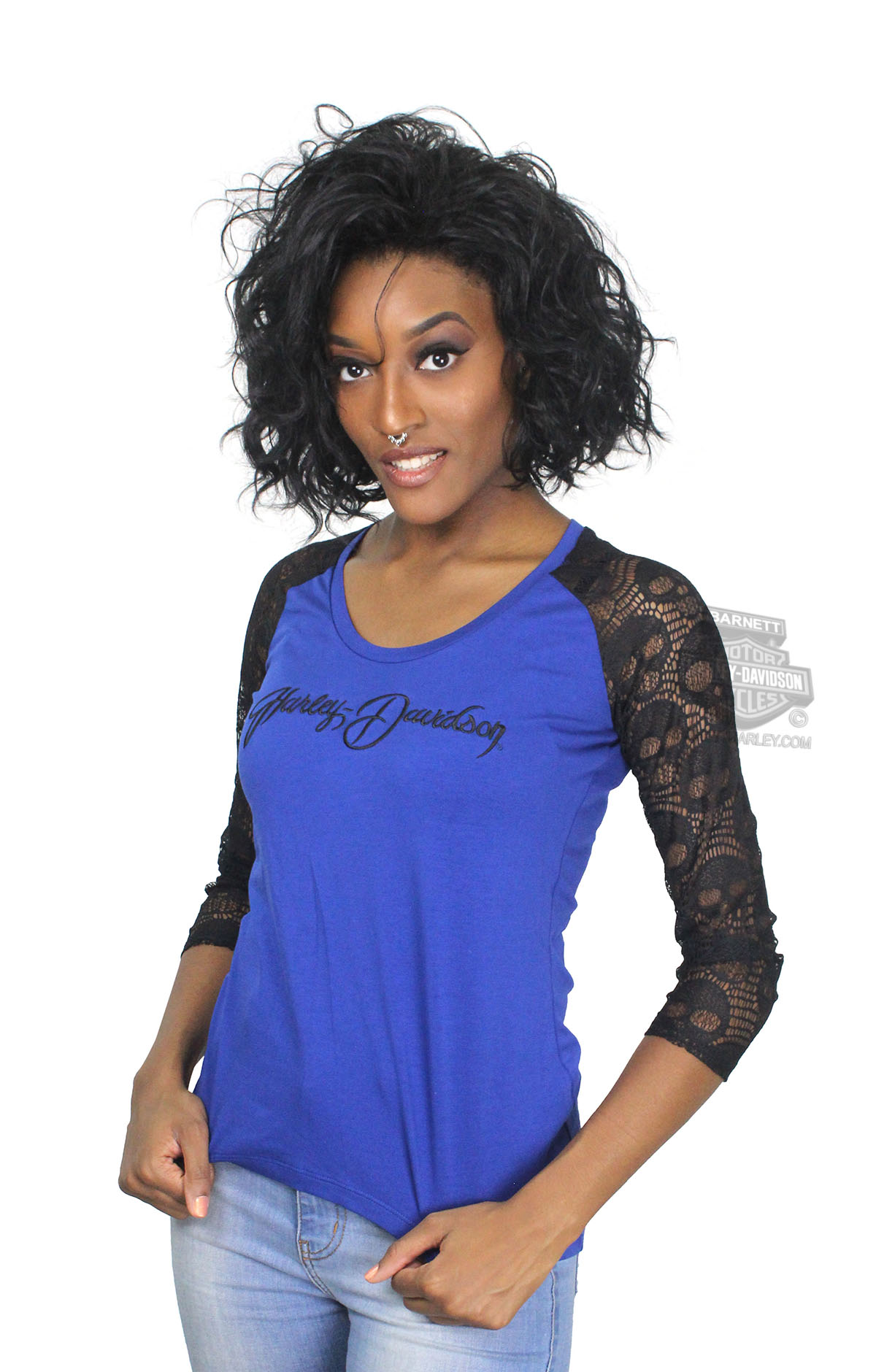 ** SIZE SMALL ONLY ** Harley-Davidson® Womens Old Flavor Skull Novelty Piecing Blue 3/4 Sleeve T-Shirt