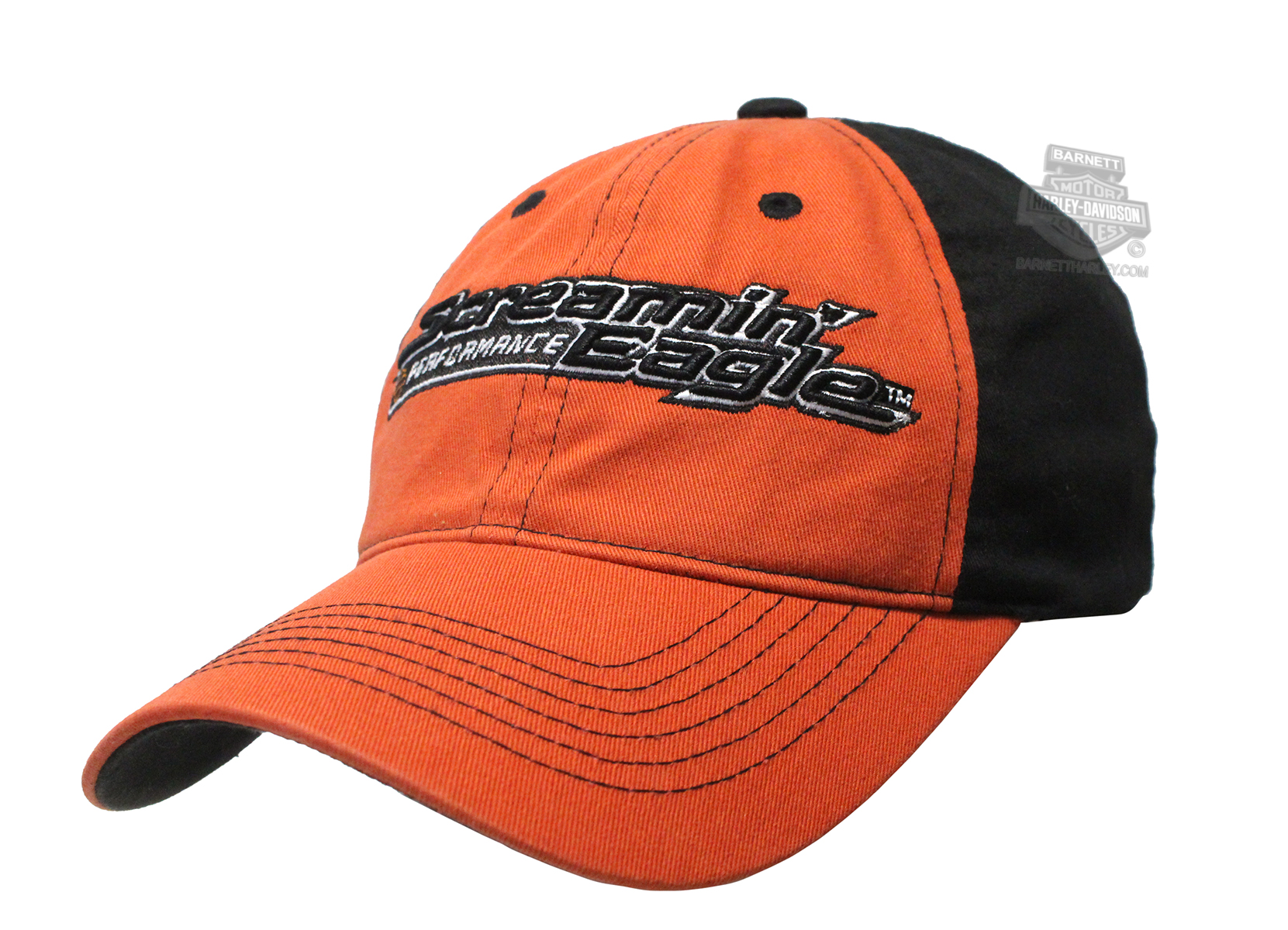 Harley-Davidson® Mens Screamin Eagle Heritage Orange Stretch Fit Baseball Cap