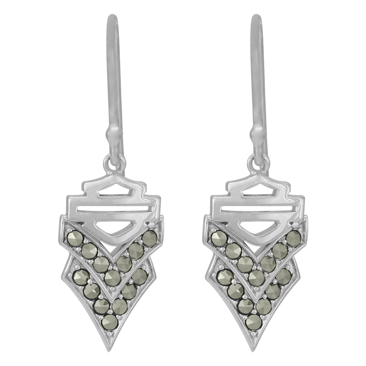 Detroit Silver Chevron Crest Earrings on Silver Ear Wires Mod and Trendy Geometric Chic