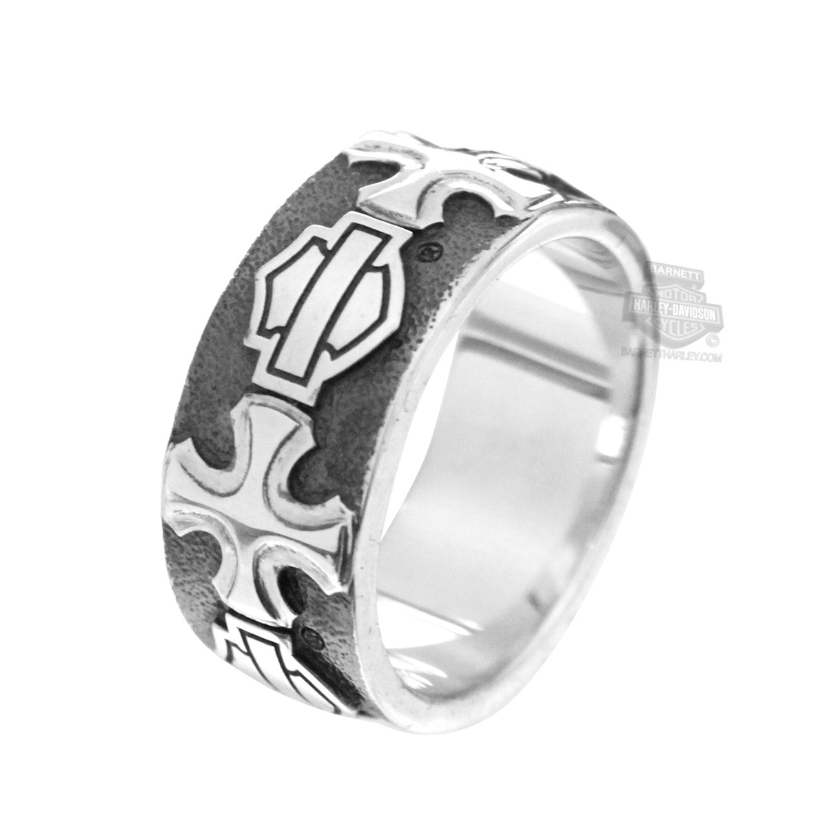 Harley DavidsonR Mens 925 Silver BS Cross Band Ring By Mod JewelryR