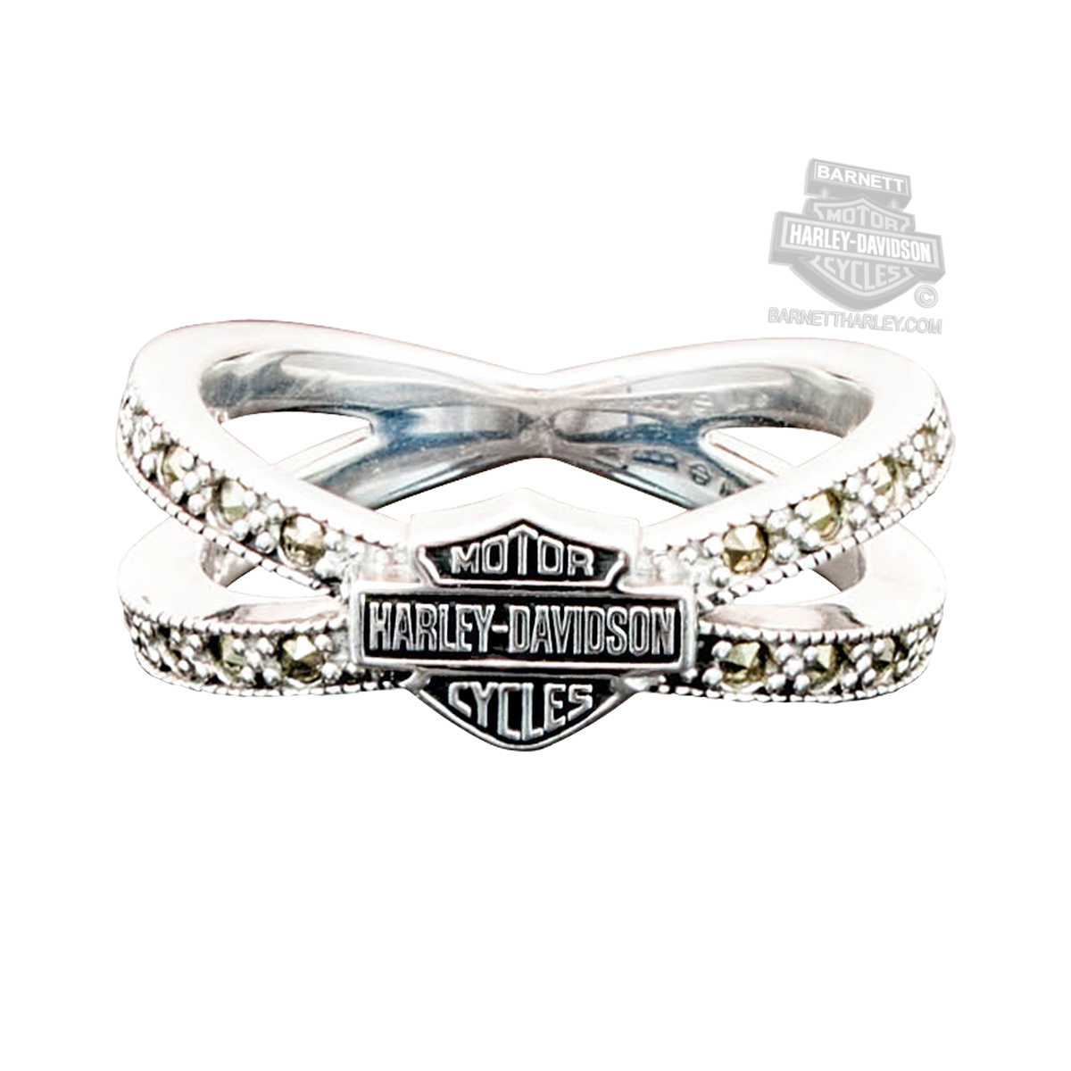 It is just a picture of HDR39 - Harley-Davidson® Womens .39 Silver Marcasite B&S Criss