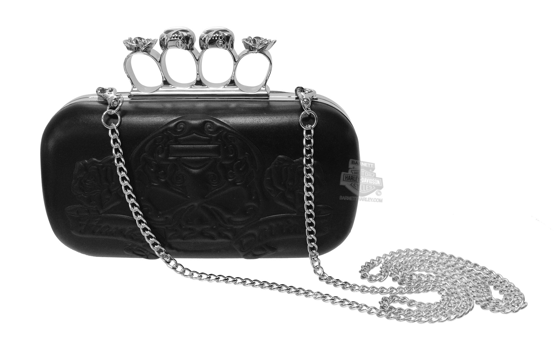 Harley-Davidson® Womens Knuckle Duster Sugar Skull Minaudiere Black Leather Purse by LODIS