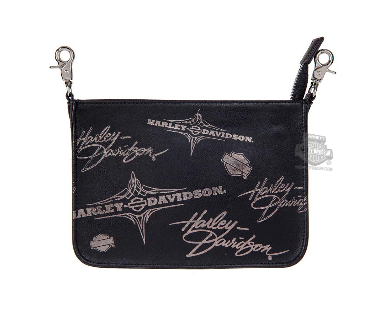 Harley-Davidson® Womens Silver Flash Pinstriping with B&S Black Leather Hip Pouch by LODIS