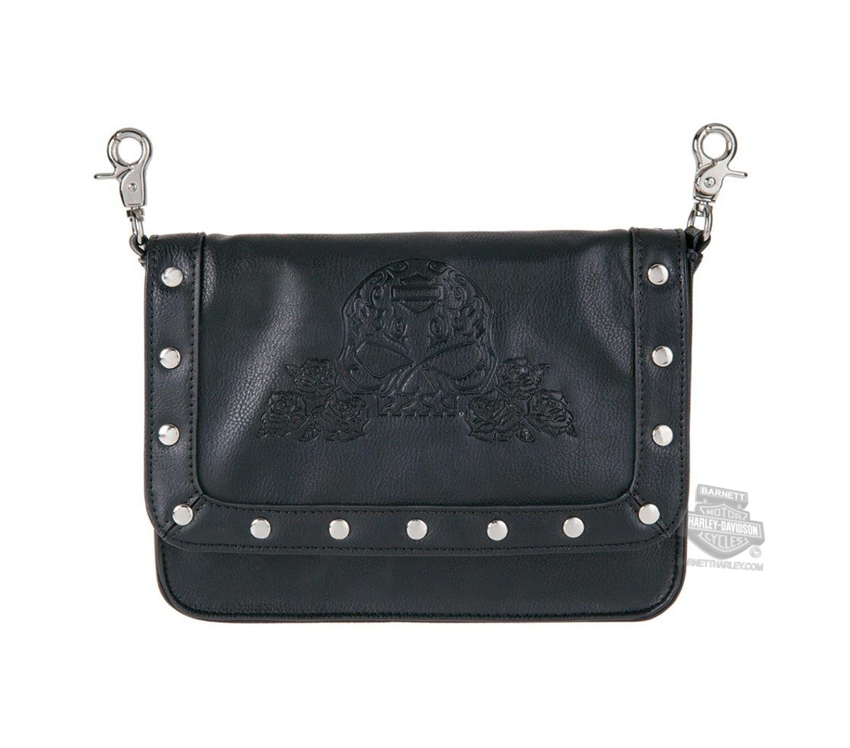 Harley-Davidson® Womens Rosalita Embossed Willie G Sugar Skull Black Leather Hip Bag by LODIS
