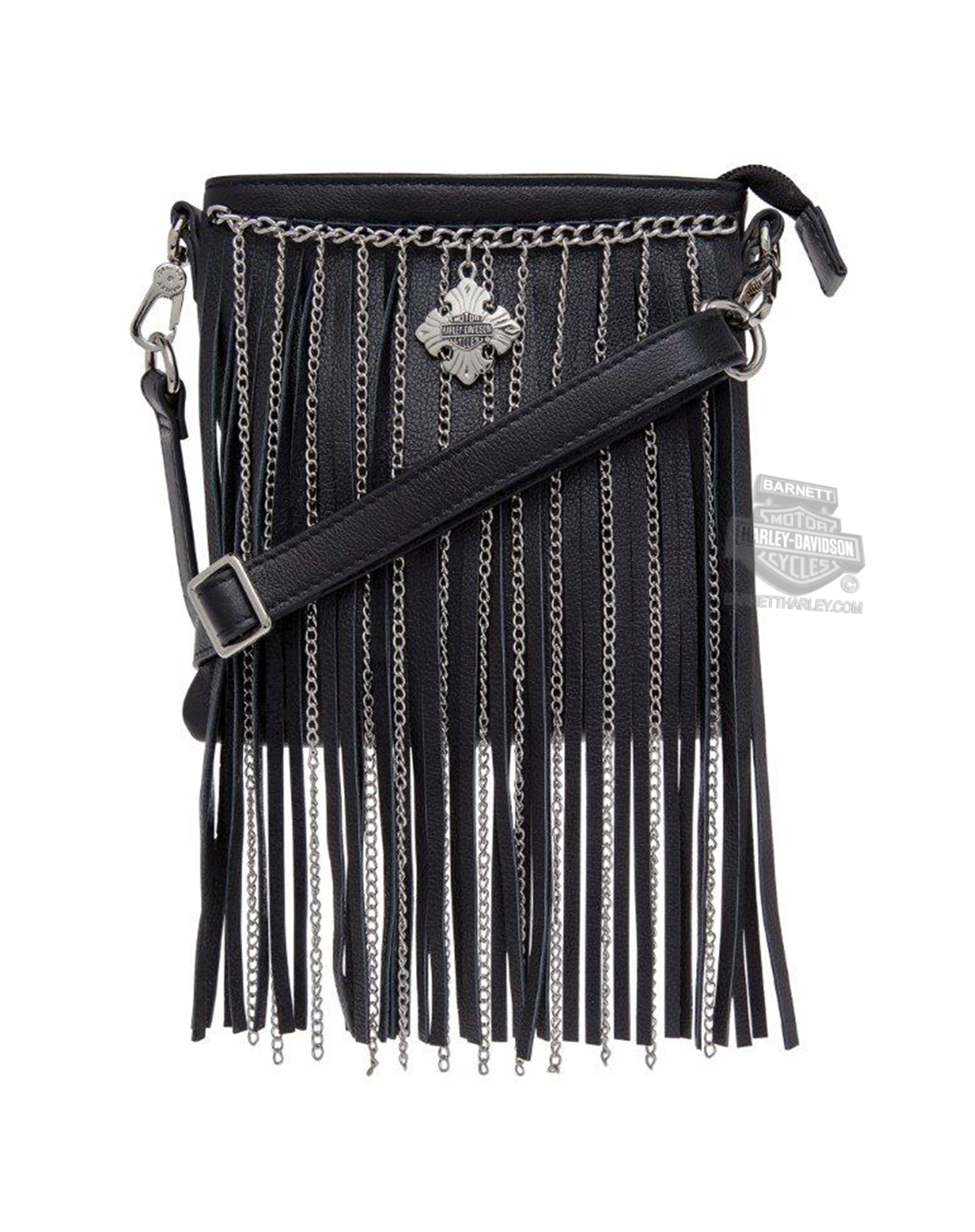 Harley-Davidson® Womens Off the Chain Fringe Detail Crossbody Black Leather Purse by LODIS *48HR*