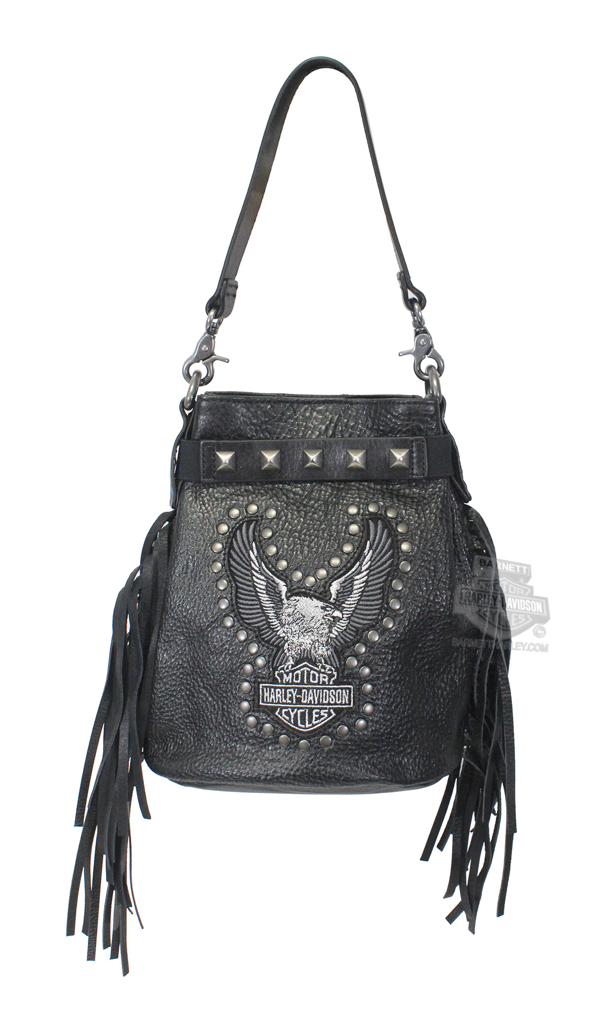 Harley-Davidson® Womens Highway Child Eagle B&S Studded with Fringe Black Leather Purse by LODIS