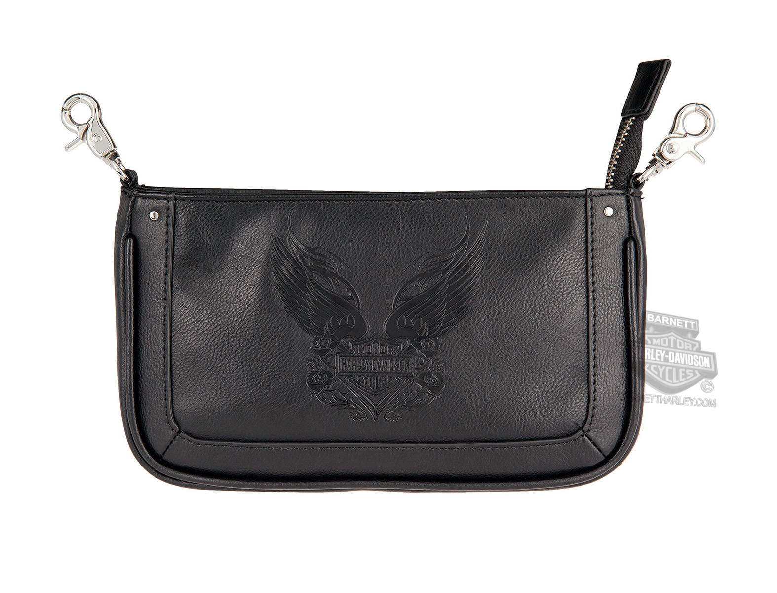 Harley-Davidson® Womens Rose Tattoo Winged B&S Black Leather Hip Bag by LODIS