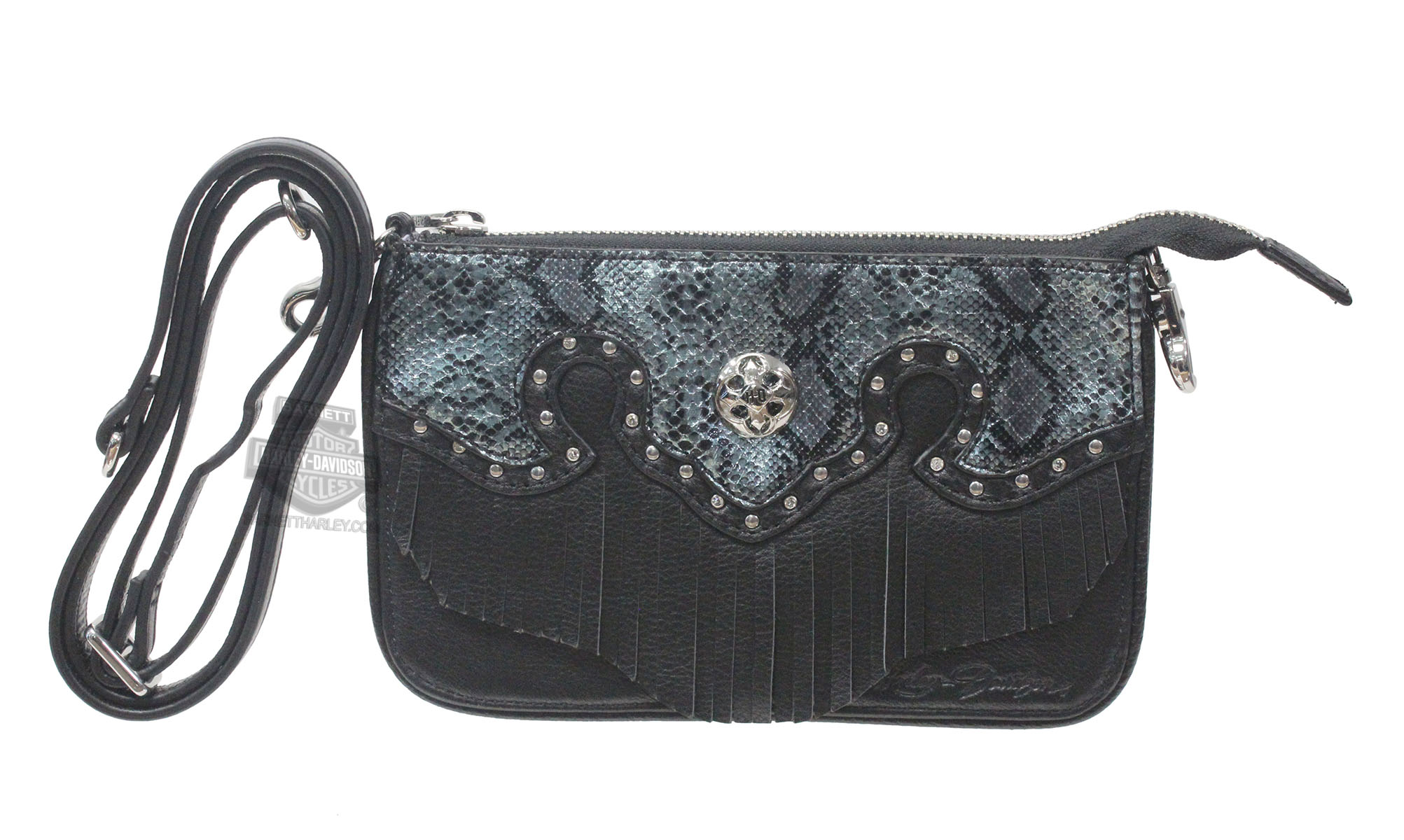 Harley-Davidson® Womens Snake Charmer Synthetic Trim with Fringe Black Leather Hip Bag by LODIS