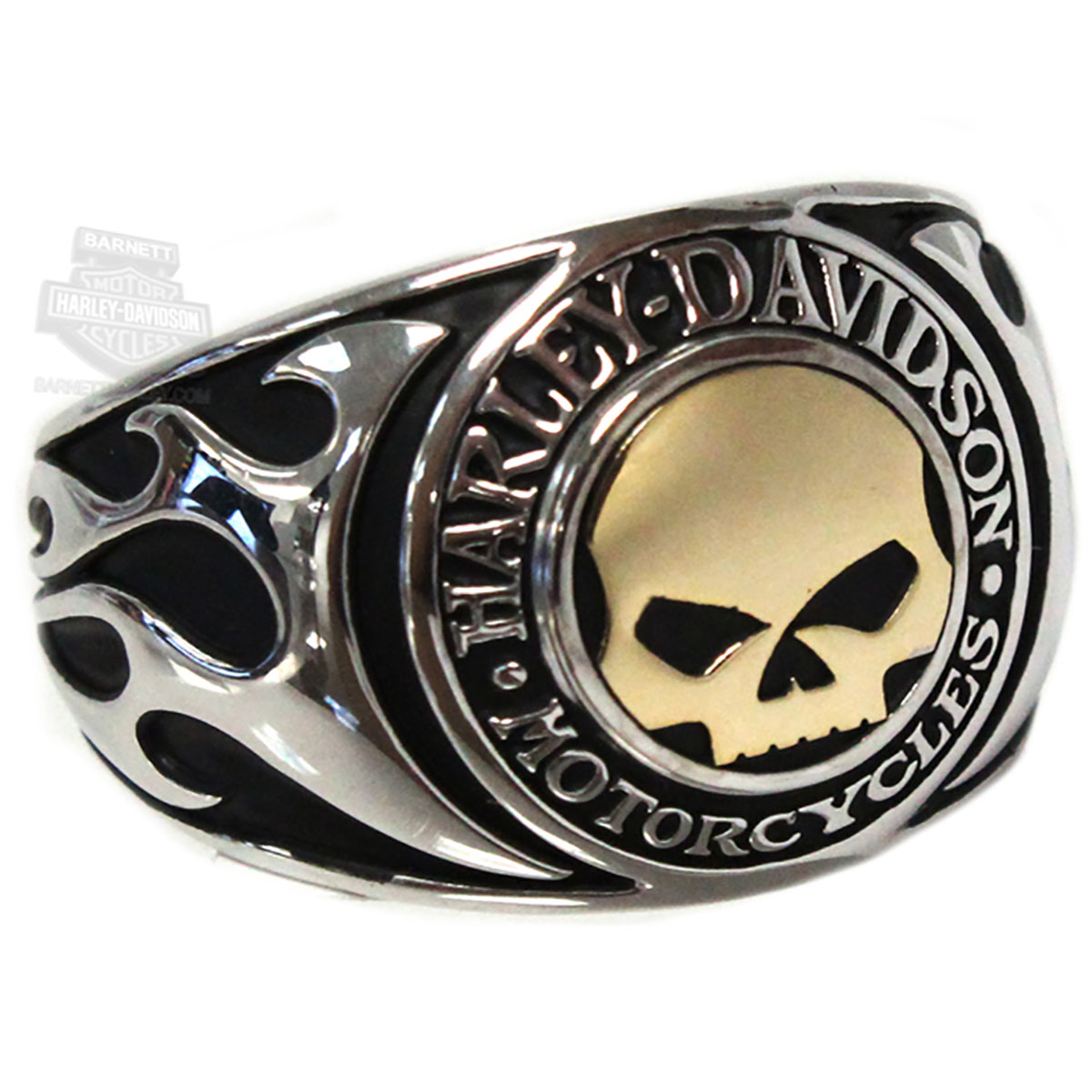 harley davidson mens 925 silver willie g skull flames with 14kt gold inlay - Harley Wedding Rings
