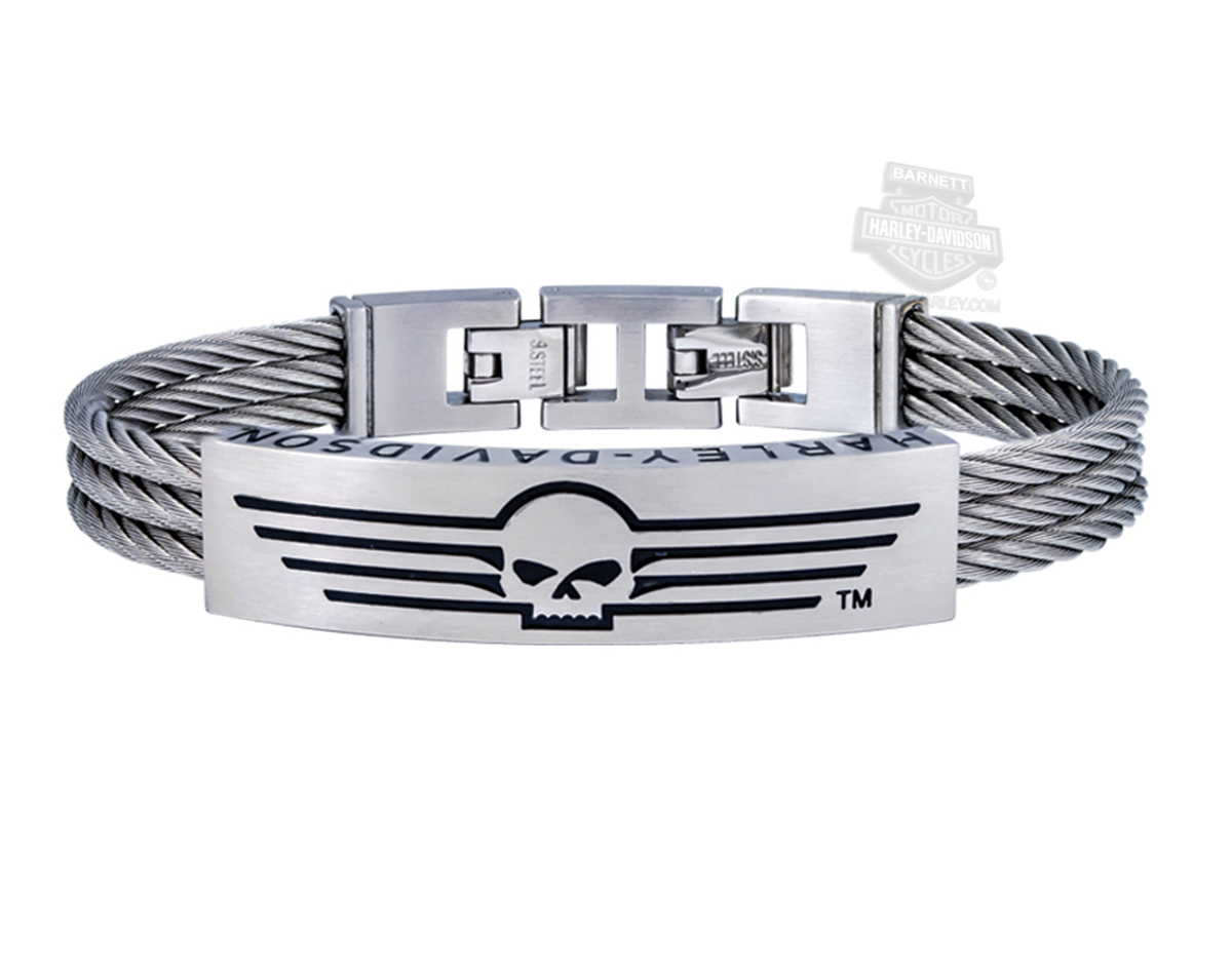 Harley-Davidson® Mens Stainless Steel Willie G Skull with Lines Triple Wire ID Bracelet by Mod Jewelry®