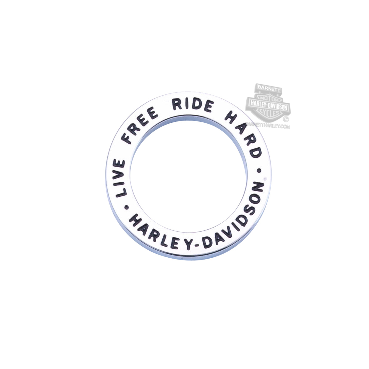 Harley-Davidson® Womens Stainless Steel Large Live To Ride, Ride To Live Round Thick Plate by Mod Jewelry®