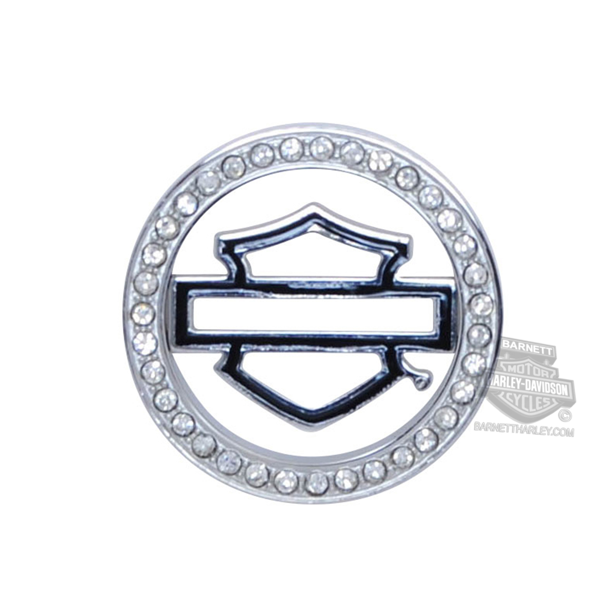 Harley-Davidson® Womens Stainless Steel Bling Black Enamel B&S Small Locket Plate by Mod Jewelry®