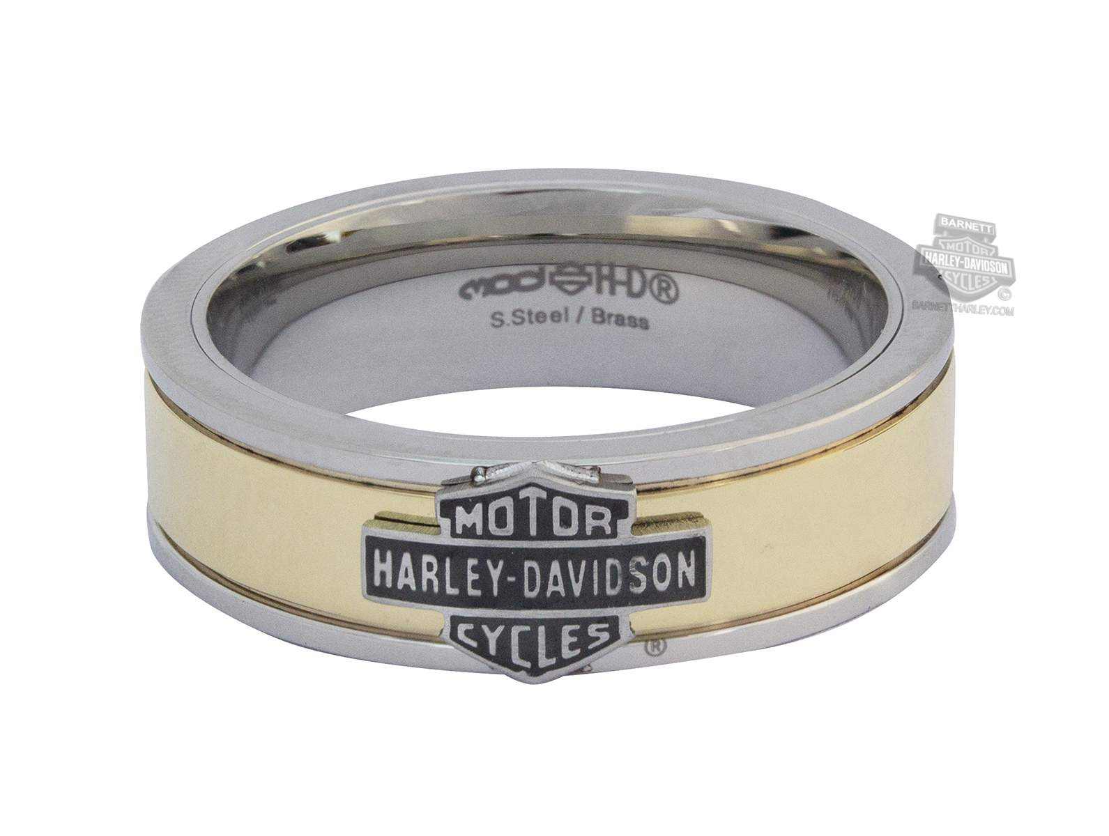 This is a graphic of HSR39 - Harley-Davidson® Mens Stainless Steel Gold Tone & Steel